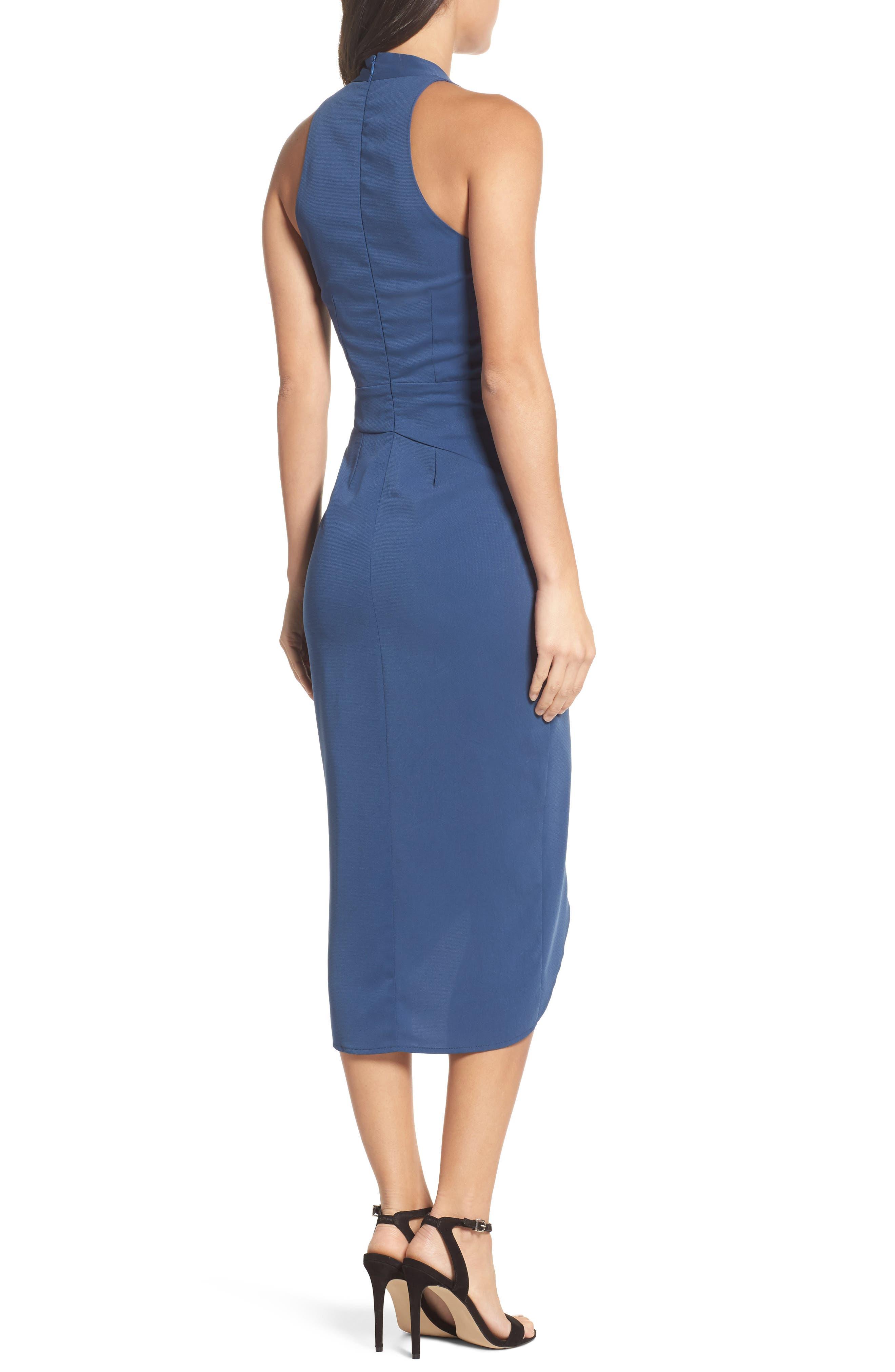 Claudia Drape Midi Dress,                             Alternate thumbnail 4, color,