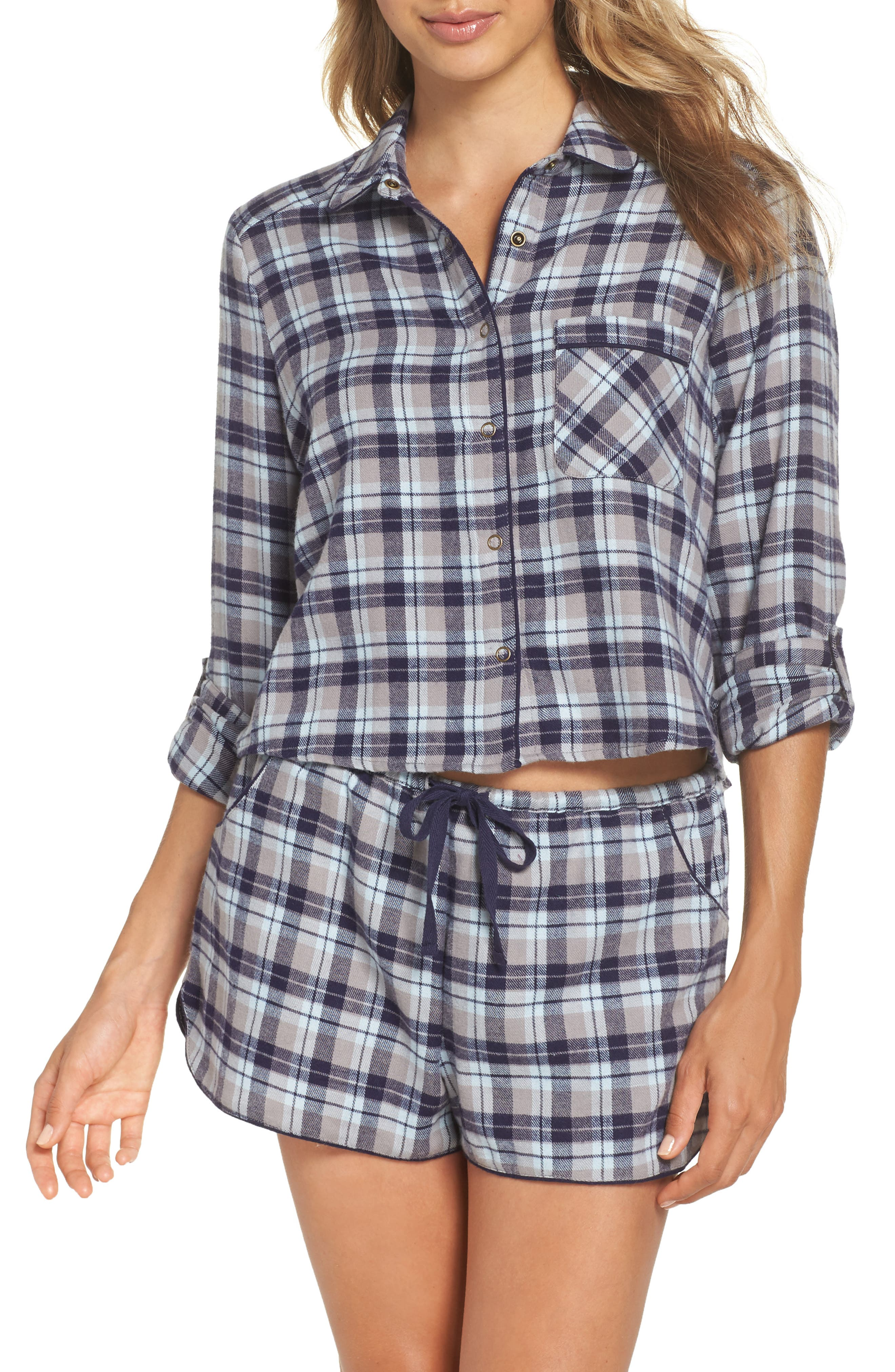 Crop Flannel Pajama Top,                         Main,                         color, GREY FROST LUCY PLAID