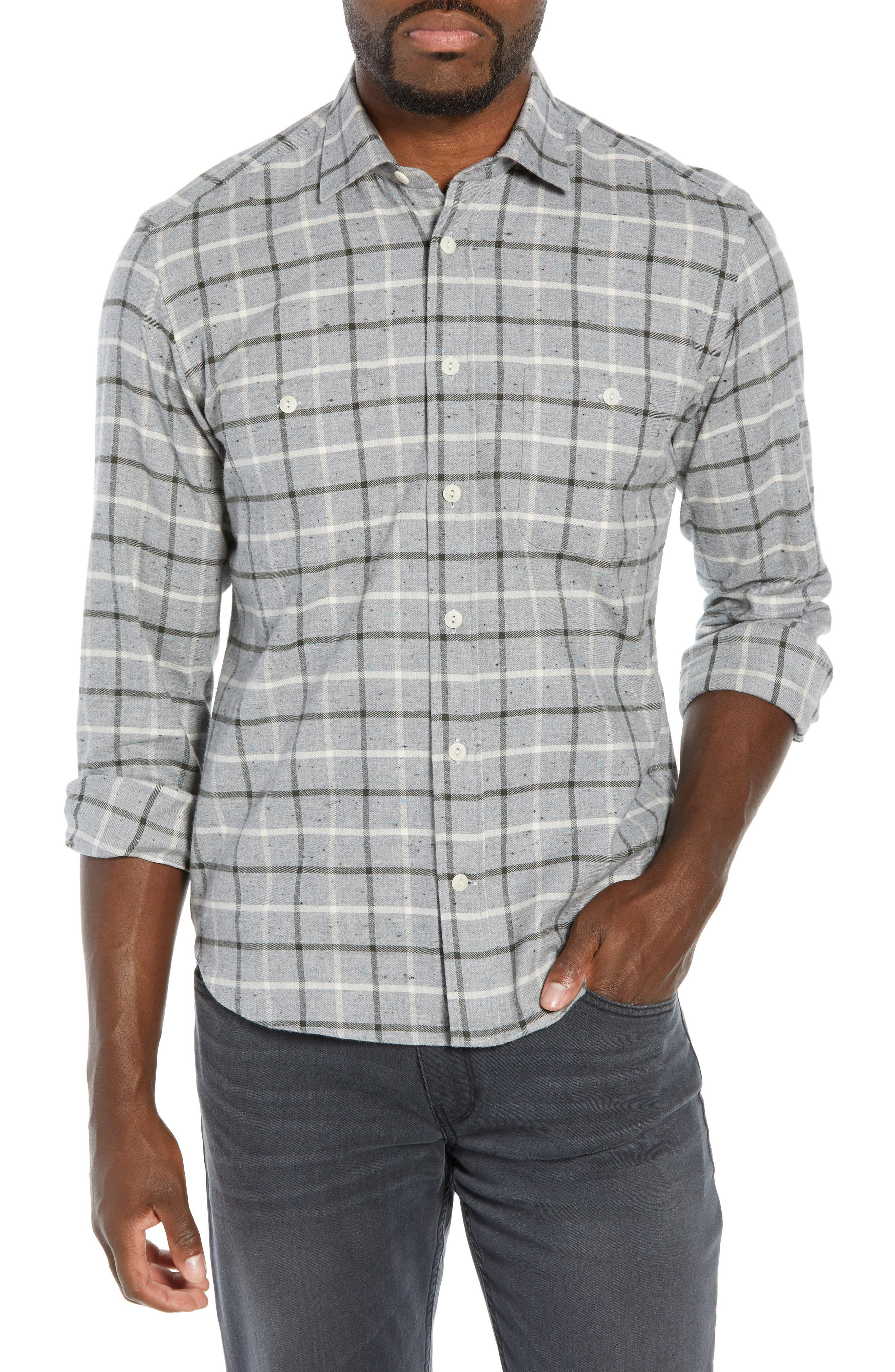 CULTURATA Supersoft Tailored Fit Plaid Sport Shirt in Grey