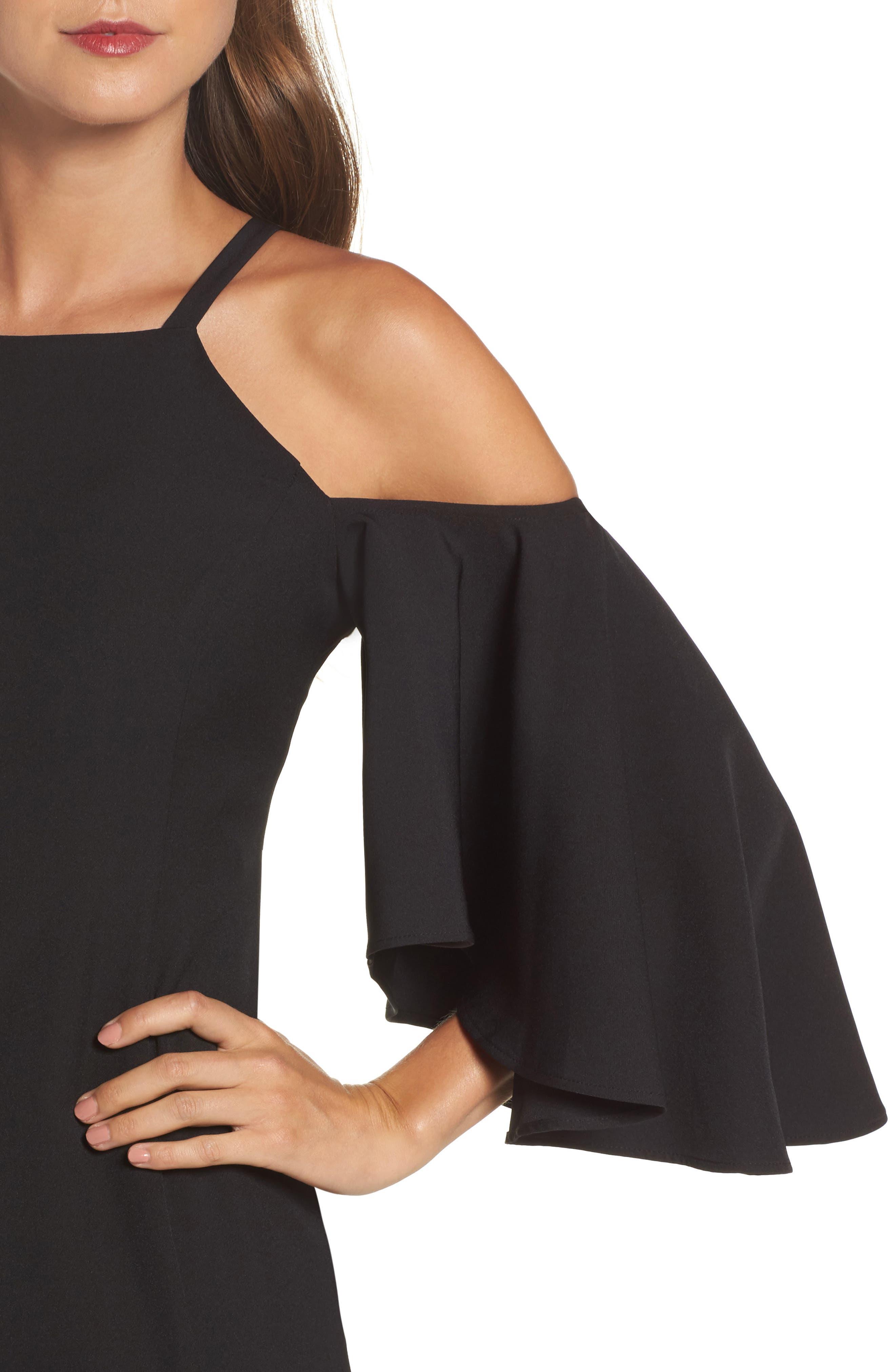Laguna Cold Shoulder Sheath Dress,                             Alternate thumbnail 4, color,                             001