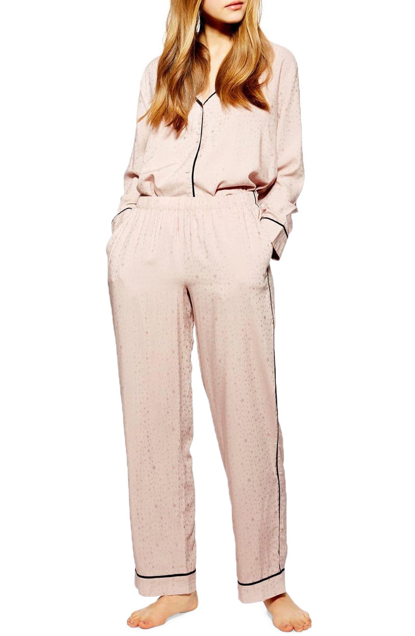 Star Jacquard Pajama Pants, Main, color, NUDE MULTI