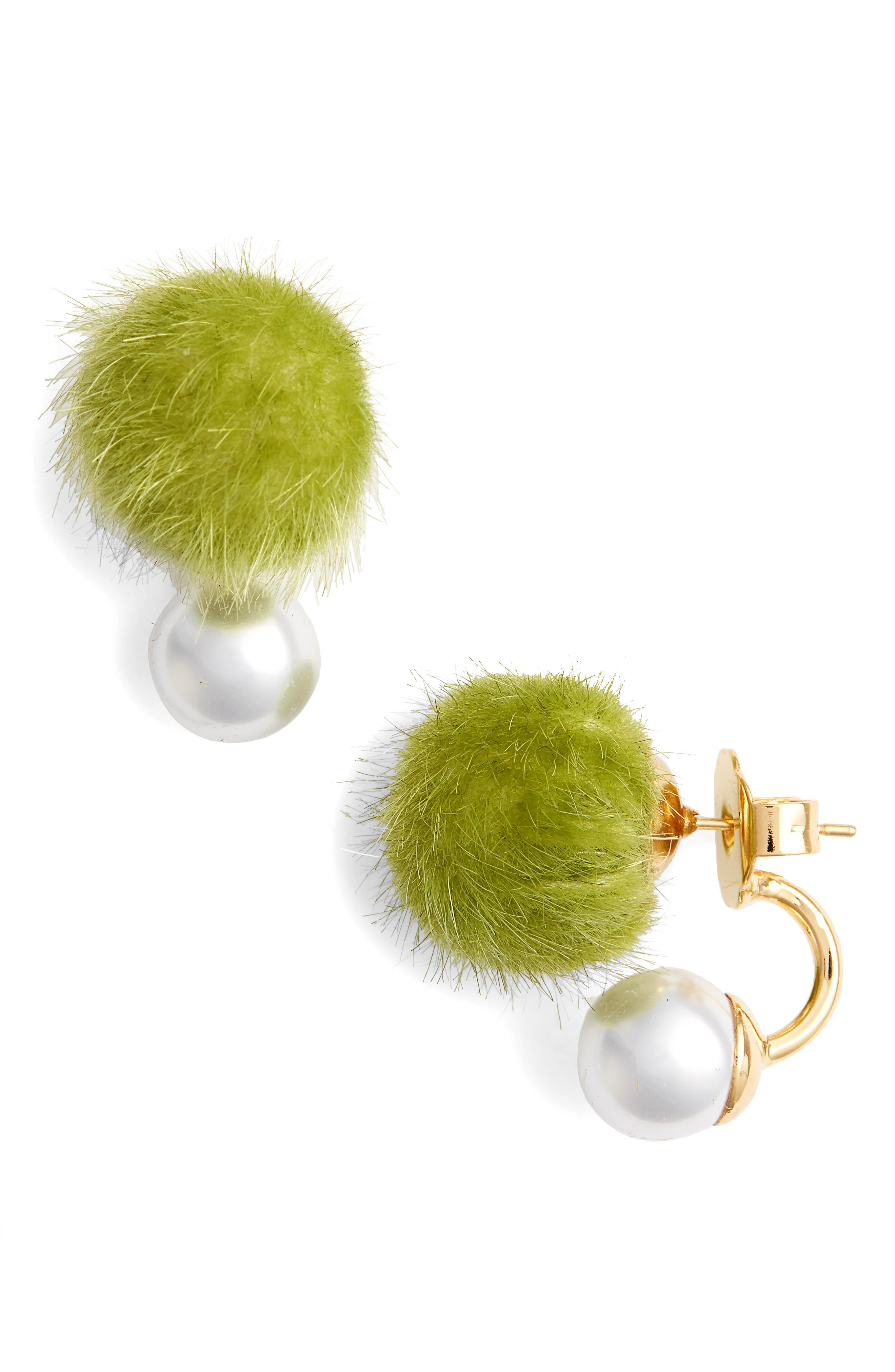 WILD AND WOOLLY Faux Fur Pom & Imitation Pearl Earrings in Green