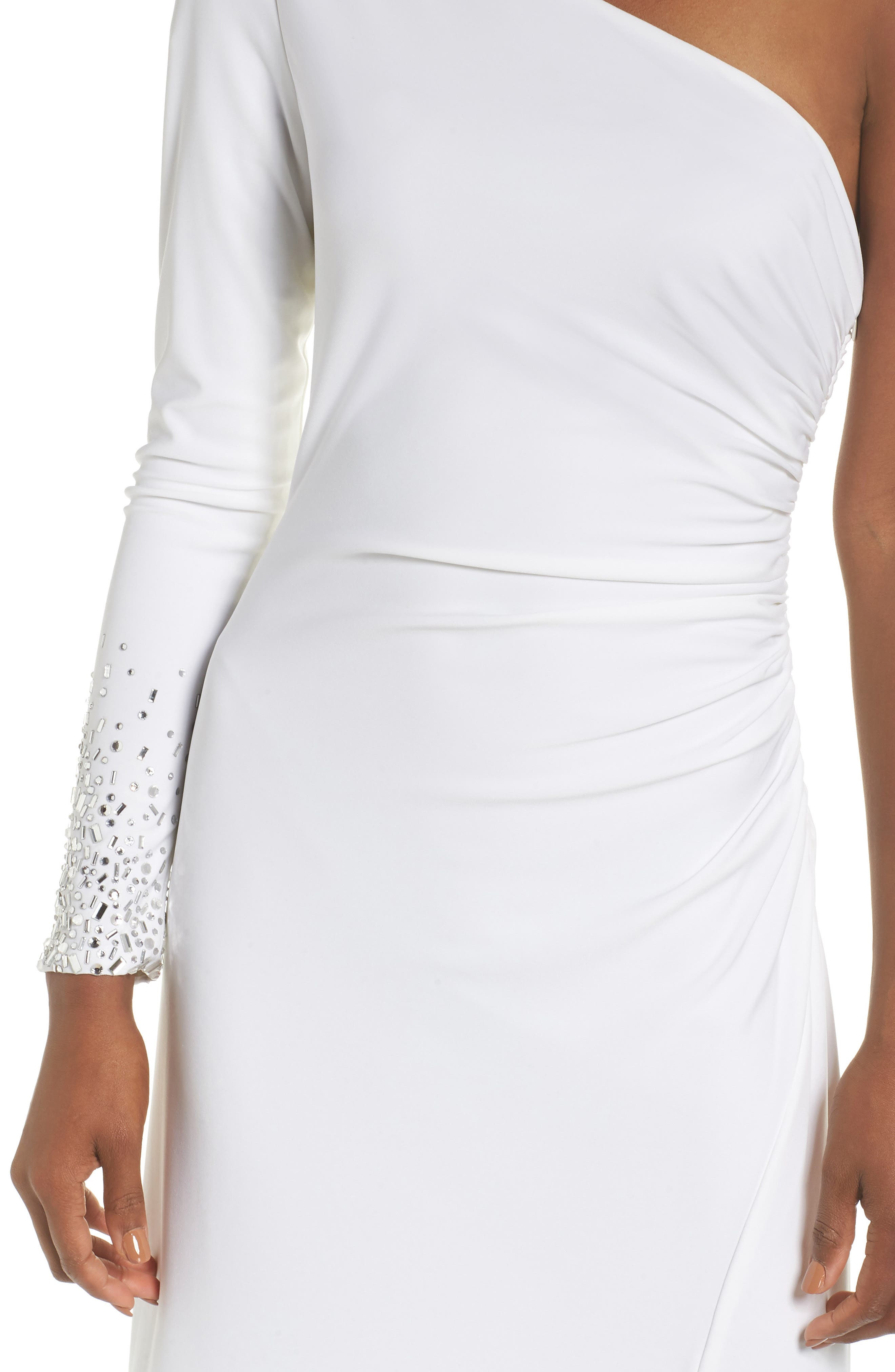 One-Sleeve Side Ruched Evening Dress,                             Alternate thumbnail 4, color,                             IVORY