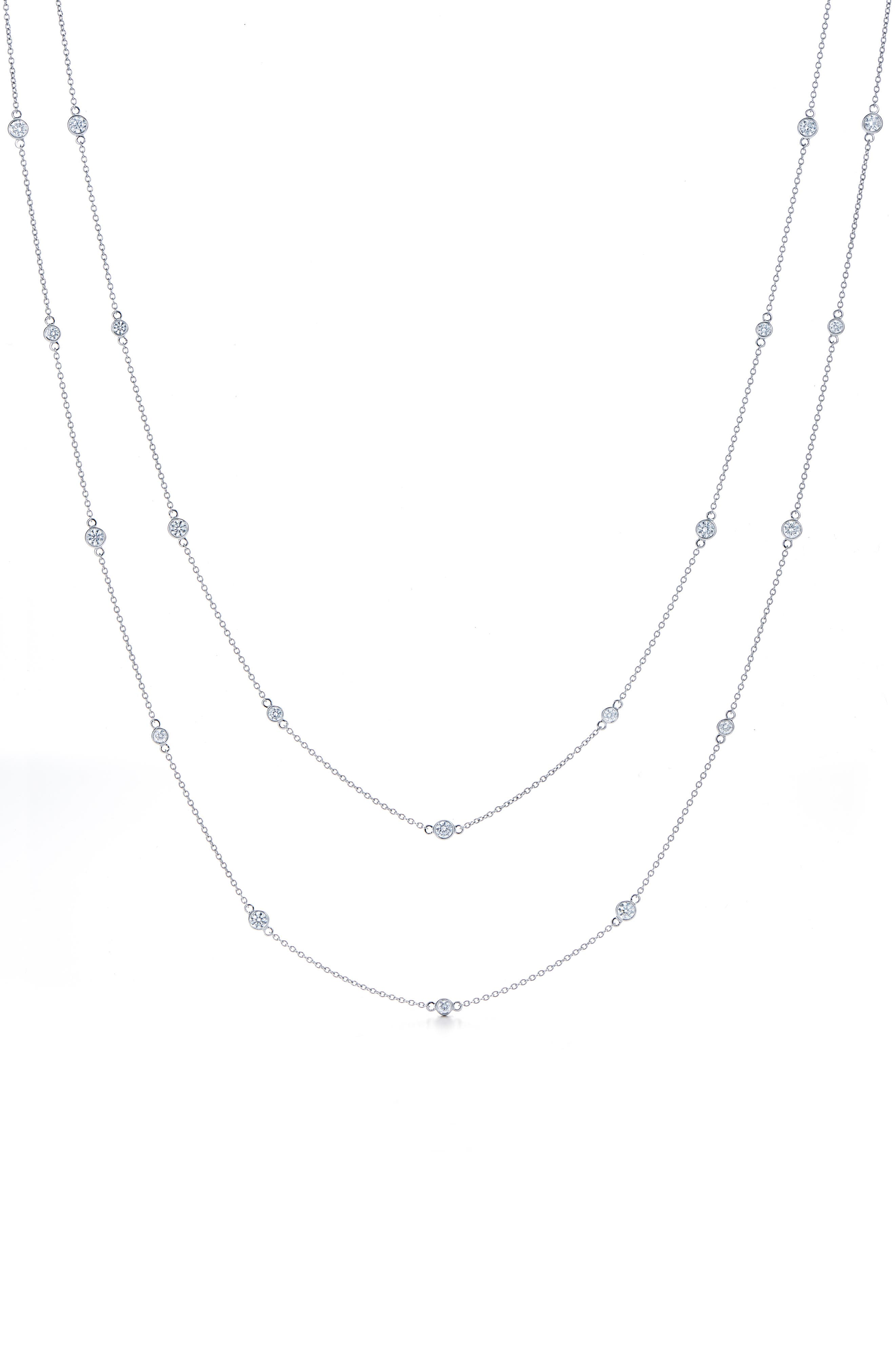 Diamond Strings Long Station Necklace,                             Main thumbnail 1, color,                             WHITE GOLD