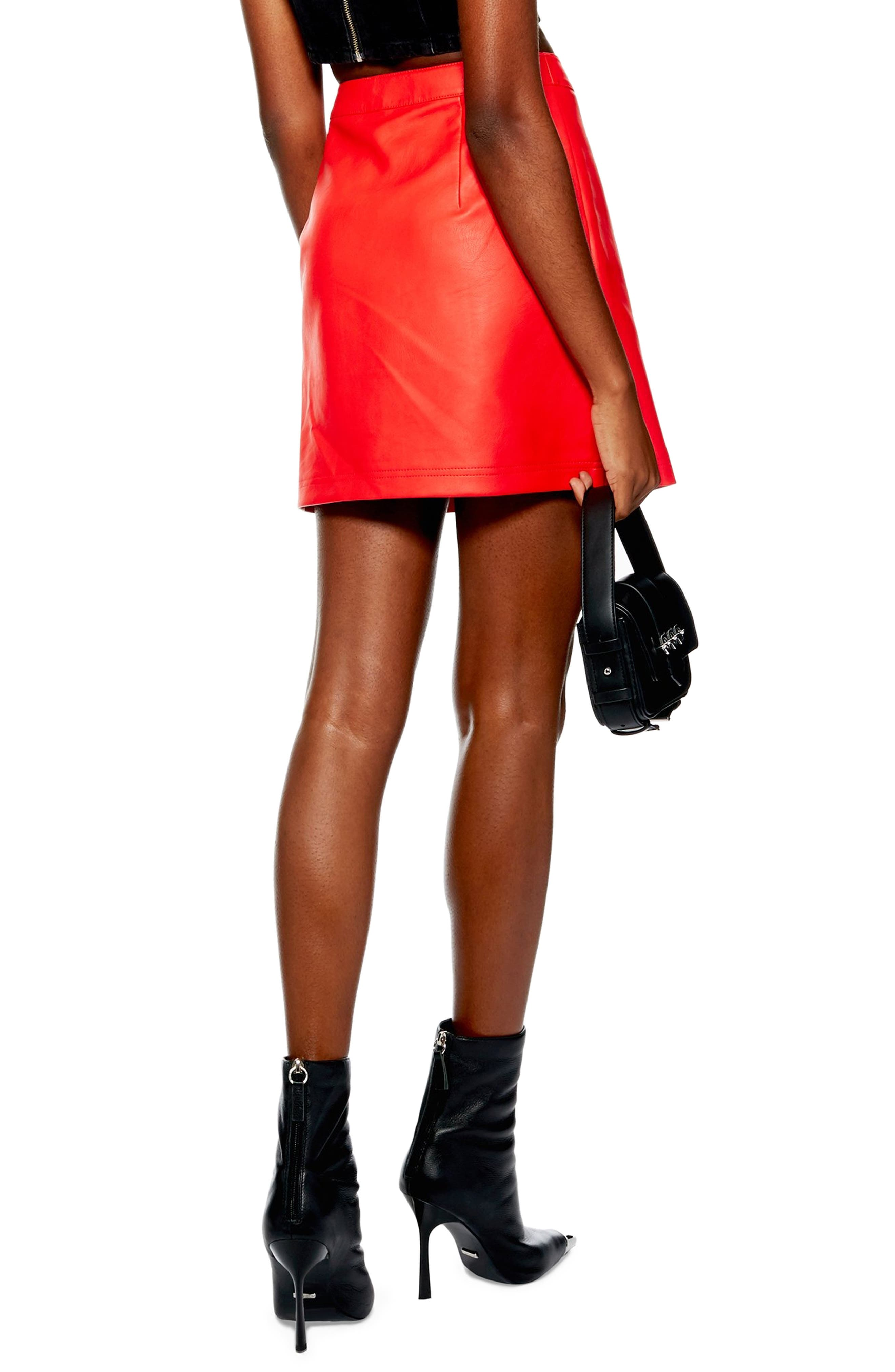 Penelope Faux Leather Miniskirt,                             Alternate thumbnail 2, color,                             RED