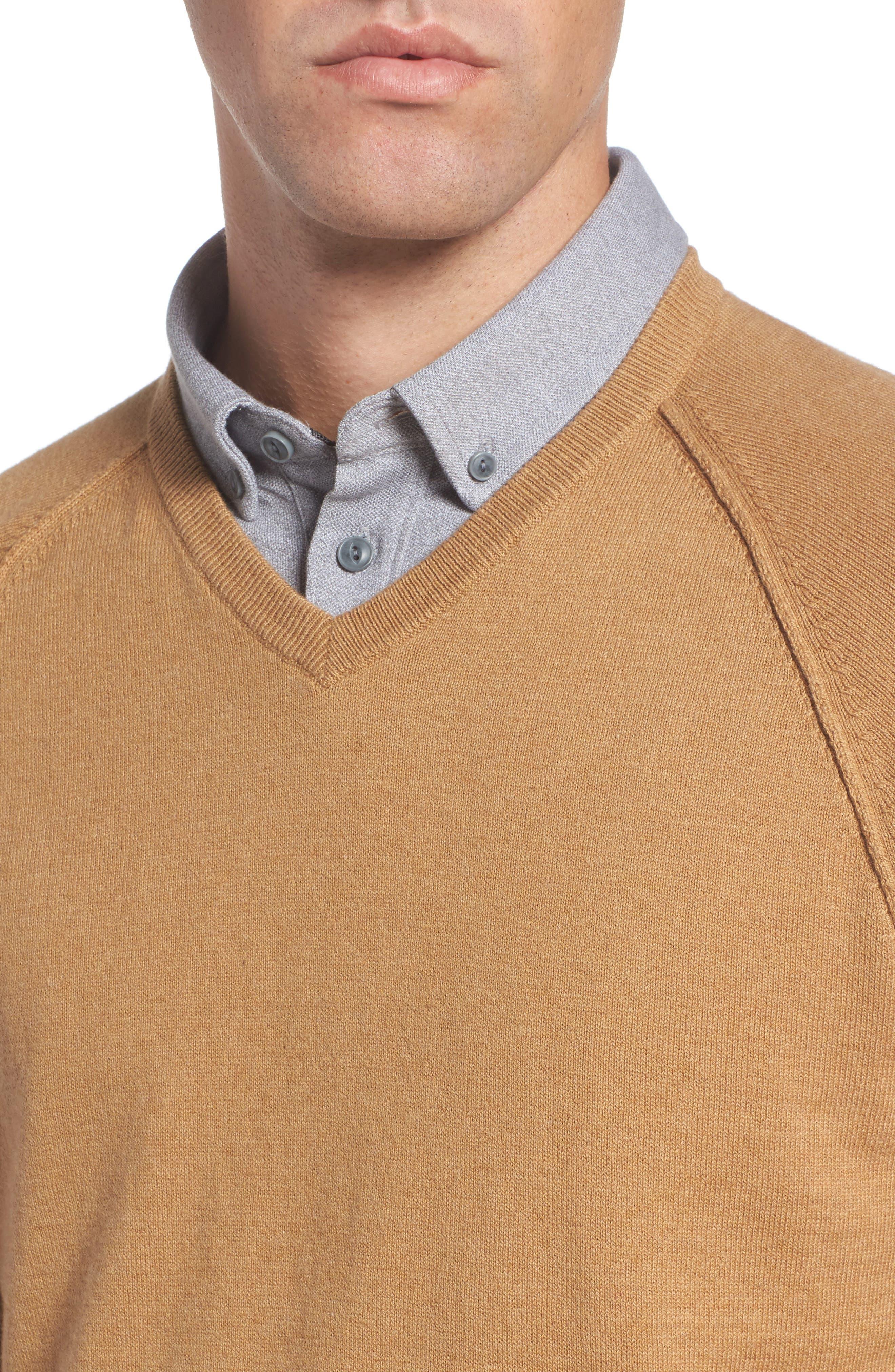Saddle Shoulder Cotton & Cashmere V-Neck Sweater,                             Alternate thumbnail 29, color,