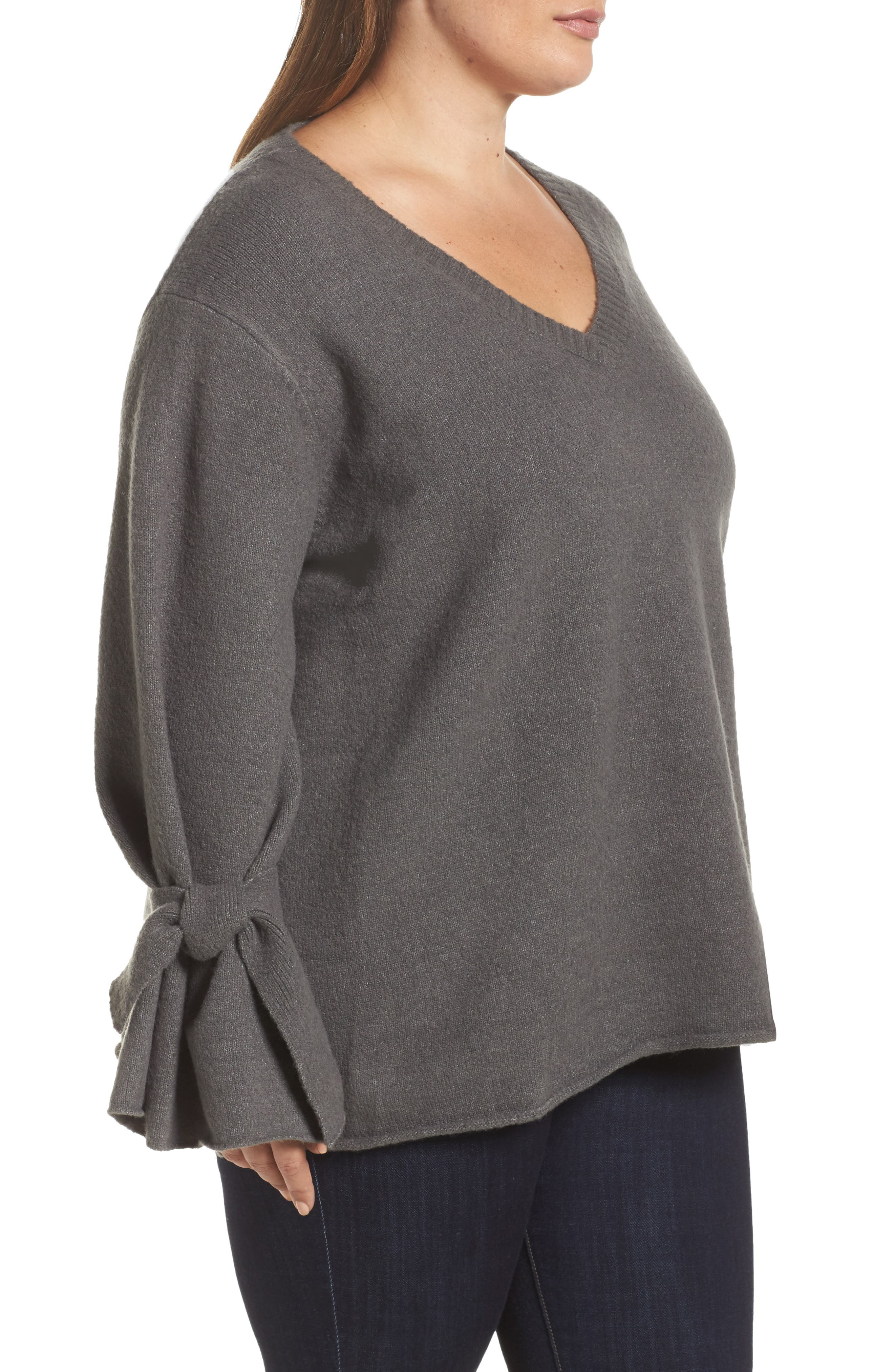 Tie Sleeve Sweater,                             Alternate thumbnail 3, color,                             020