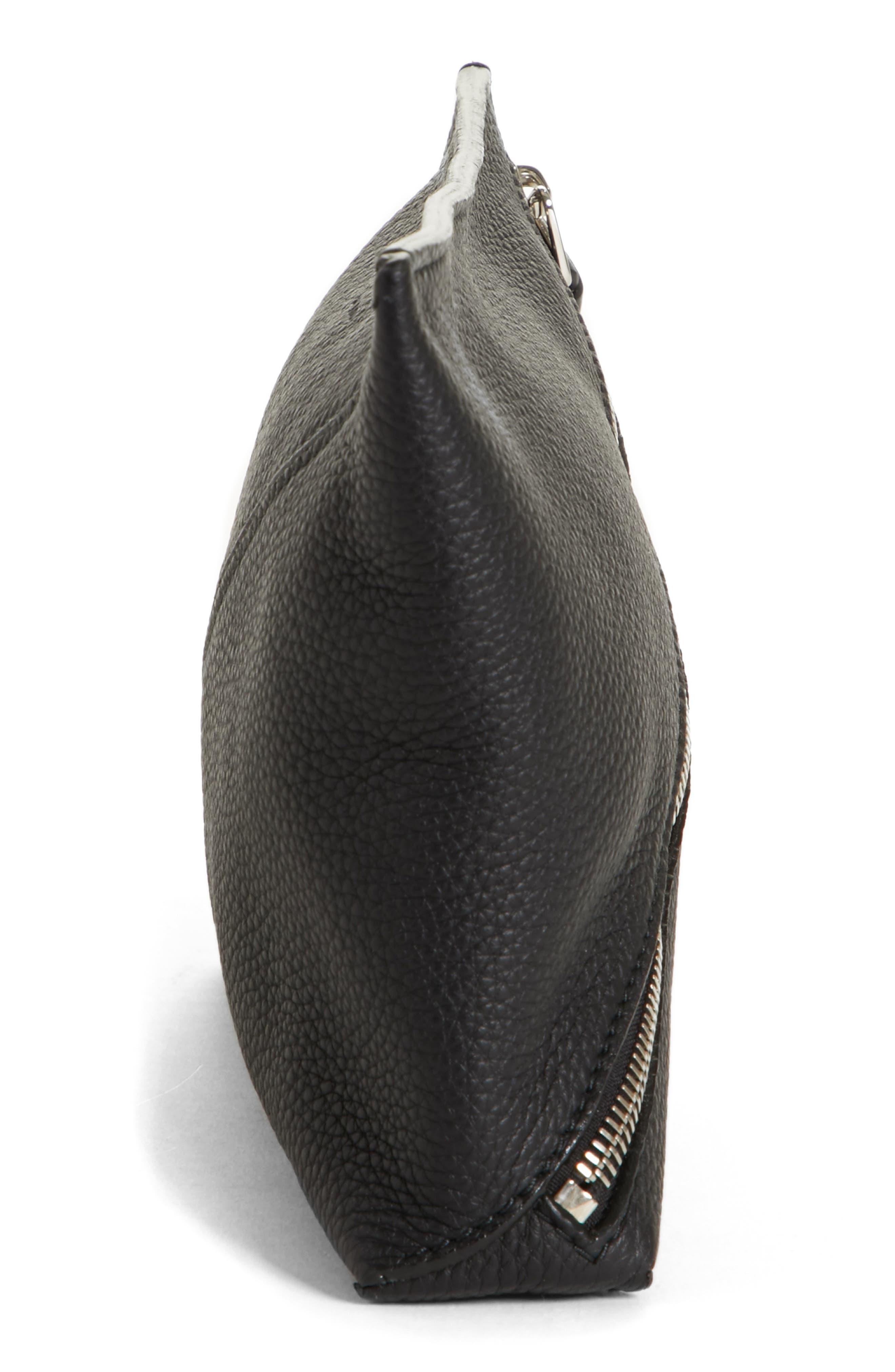 Diagonal Zip Leather Pouch,                             Alternate thumbnail 5, color,                             001