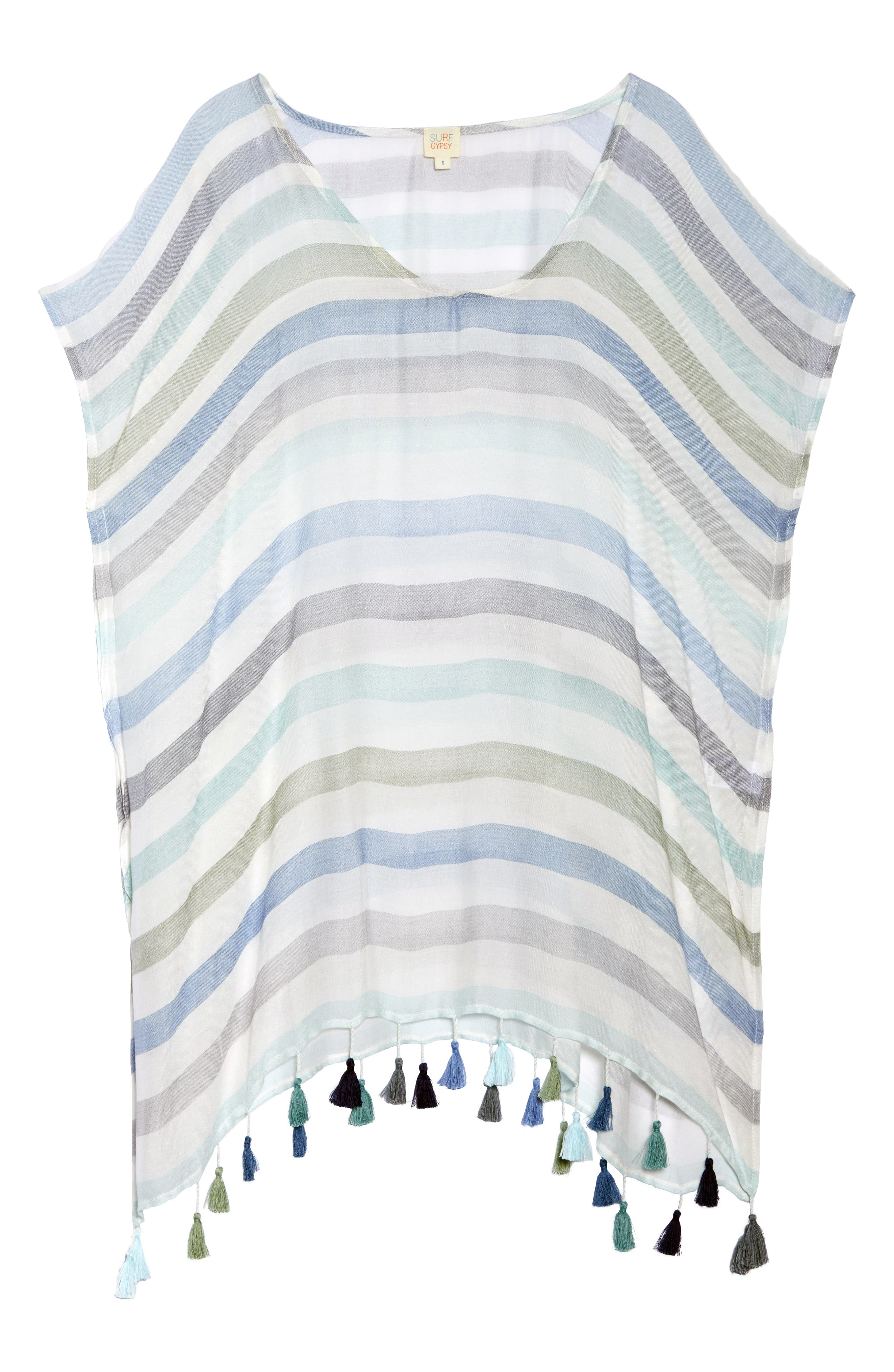 Stripe Tassel Cover-Up Tunic,                             Alternate thumbnail 6, color,                             GYPSY BLUE