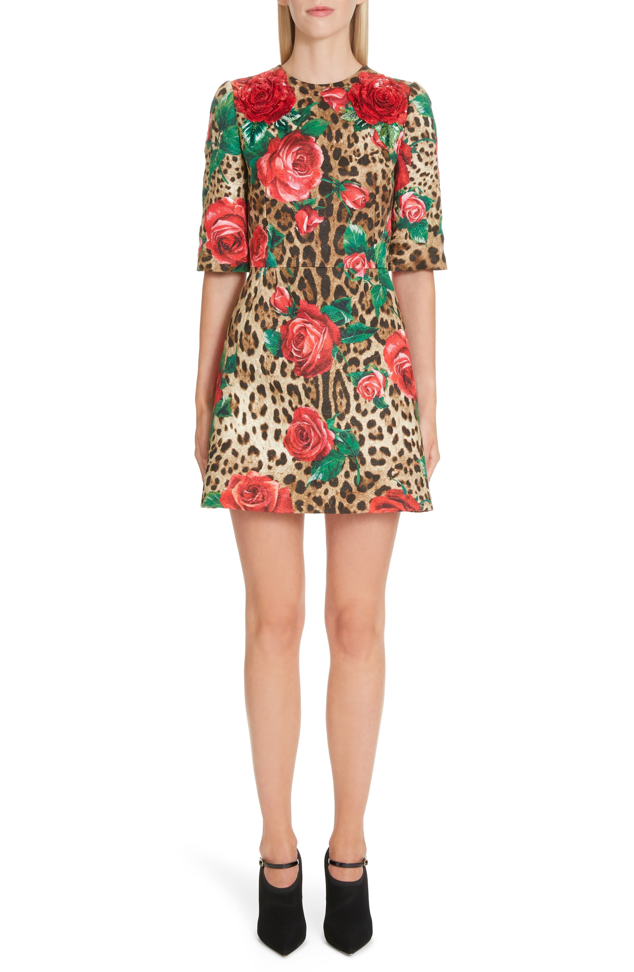 Dolce & gabbana Embellished Rose & Leopard Print Brocade Dress, US / 40 IT - Brown