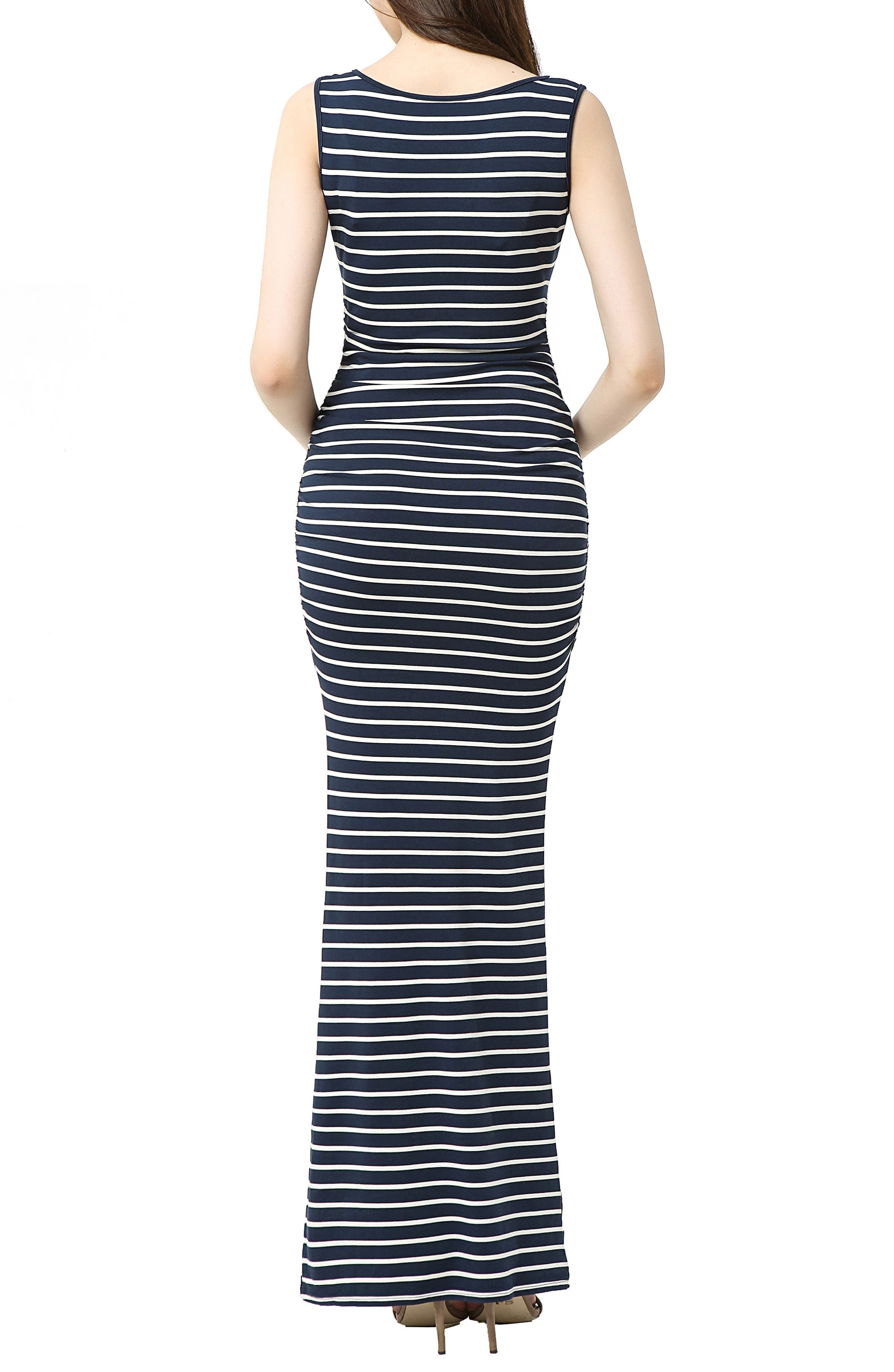 Peyton Stripe Maxi Maternity Dress,                             Alternate thumbnail 2, color,                             NAVY/ IVORY