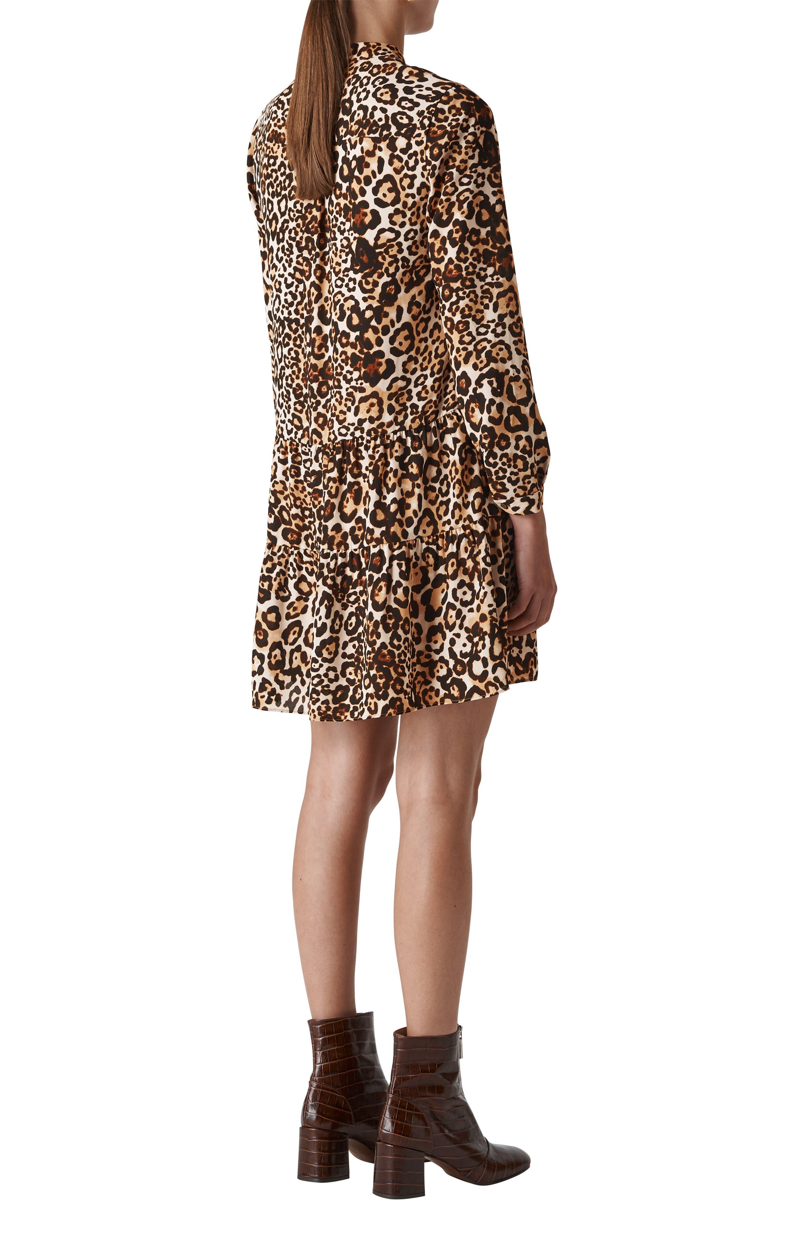 Leopard Print Shirtdress,                             Alternate thumbnail 2, color,                             LEOPARD PRINT