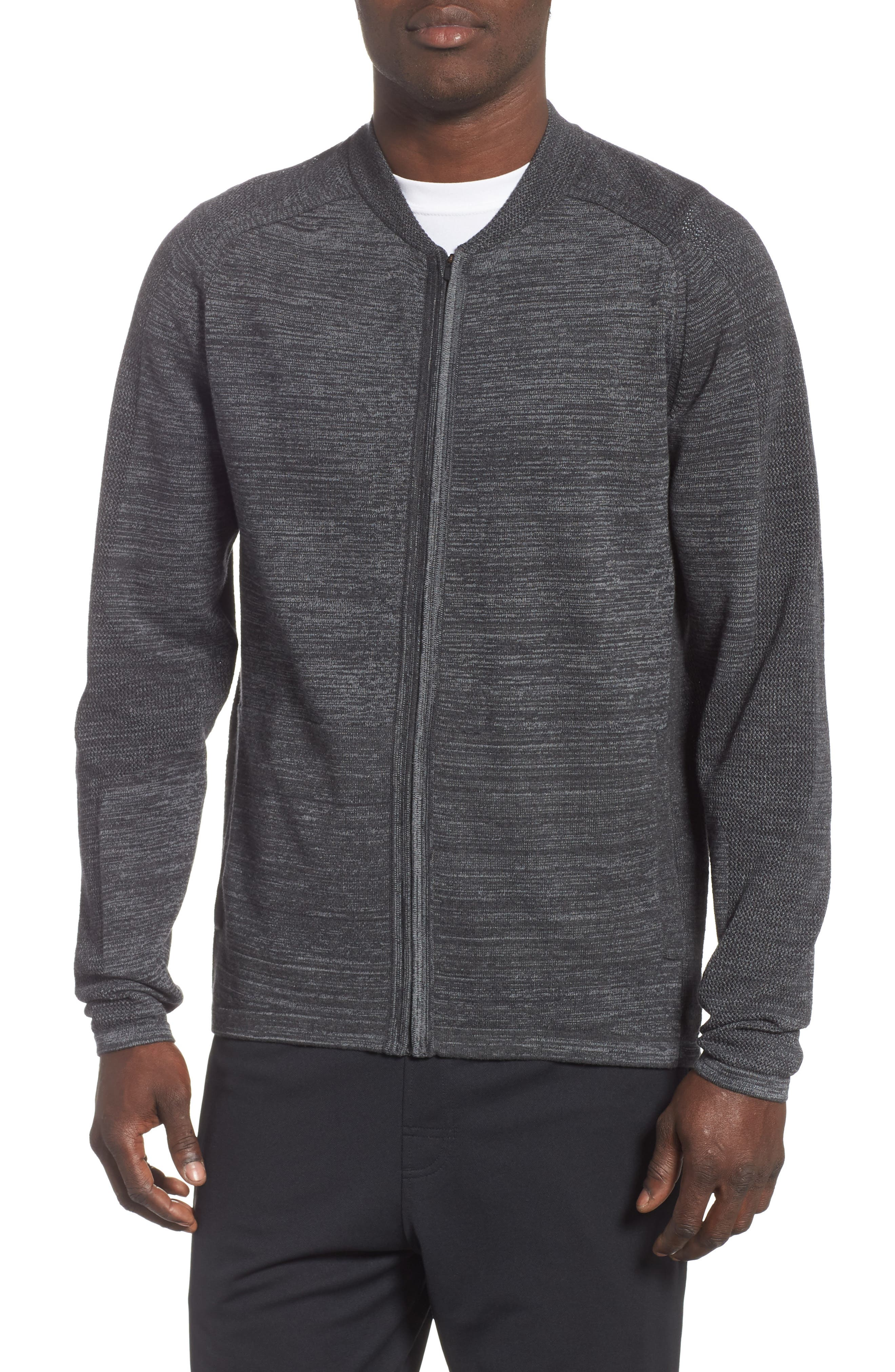 Tech Sweater Baseball Jacket,                             Main thumbnail 1, color,                             BLACK OXIDE SPACEDYE