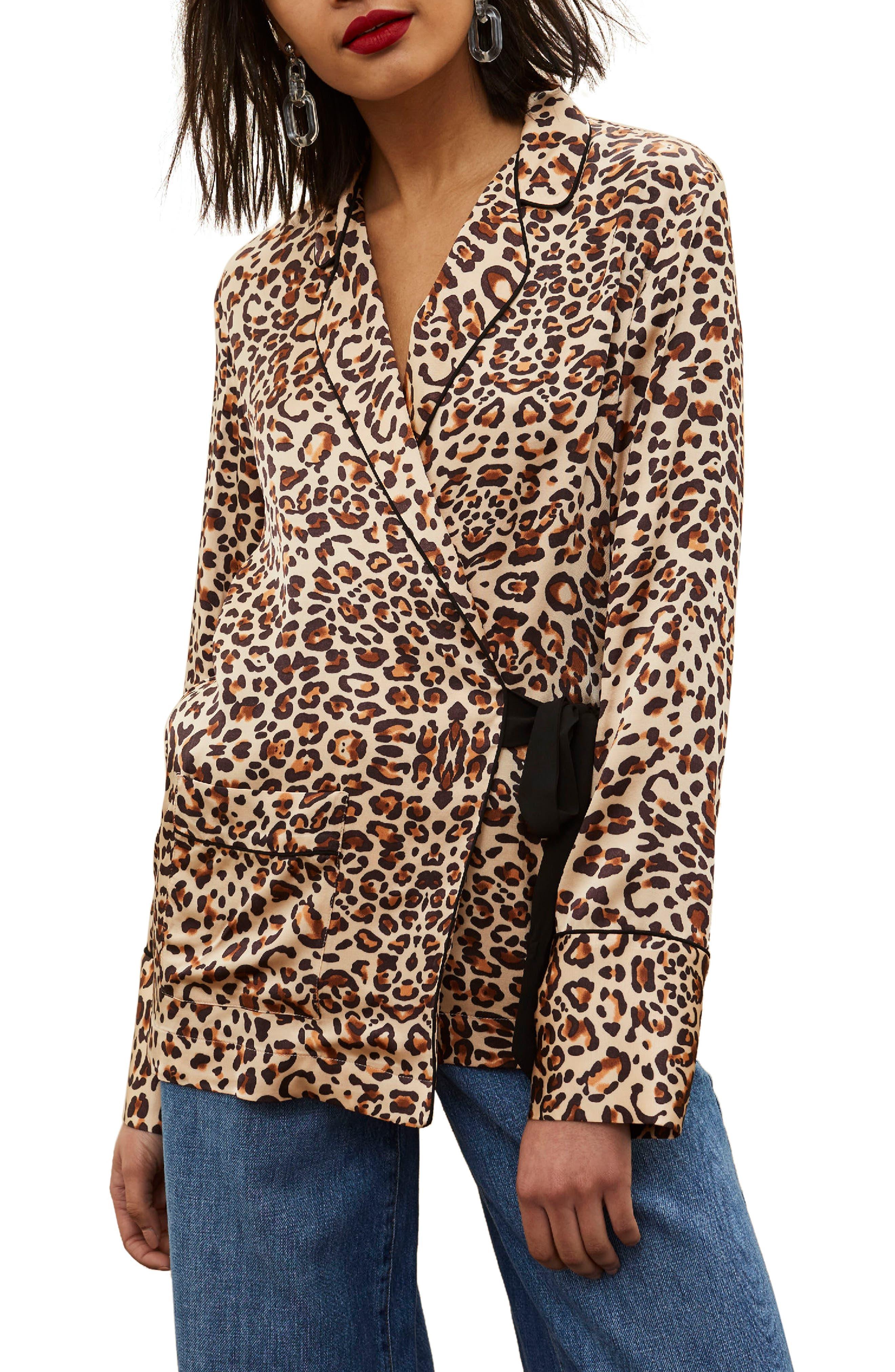 Animal Print Wrap Pajama Tie Front Shirt,                         Main,                         color, 201