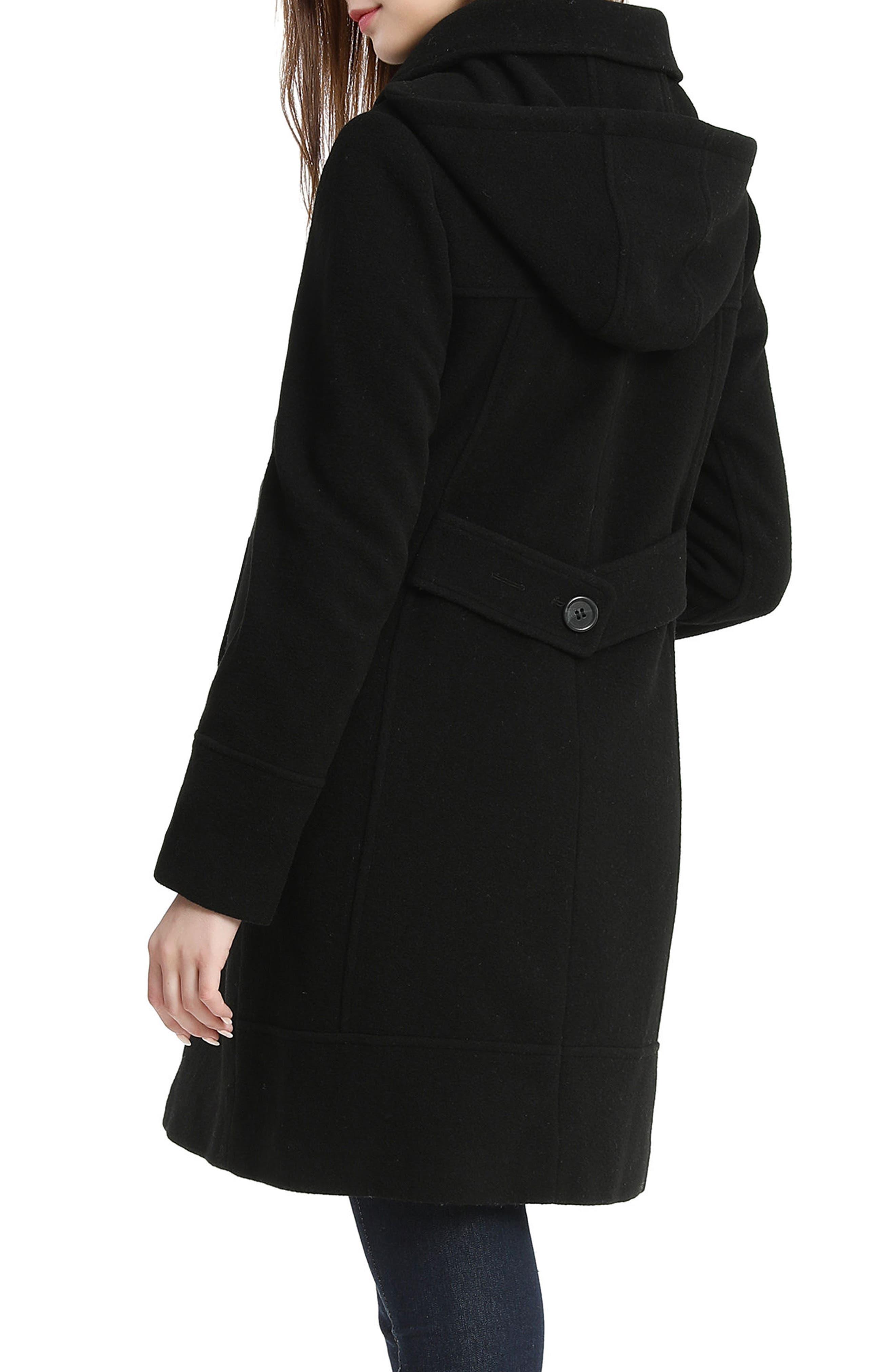 Wool Blend Maternity Coat,                             Alternate thumbnail 2, color,                             BLACK
