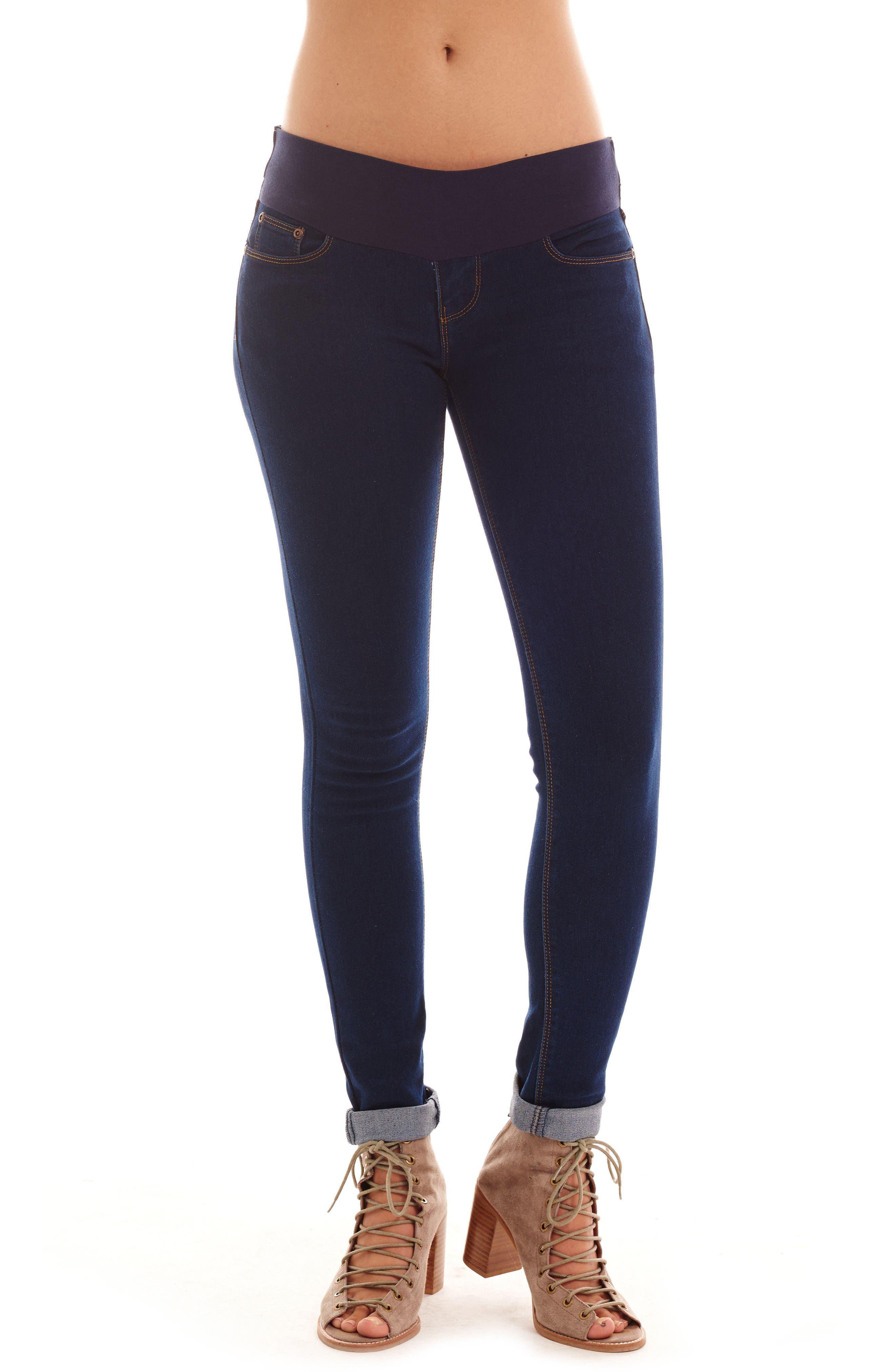 Aria Maternity Skinny Jeans,                             Main thumbnail 1, color,                             DARK WASH