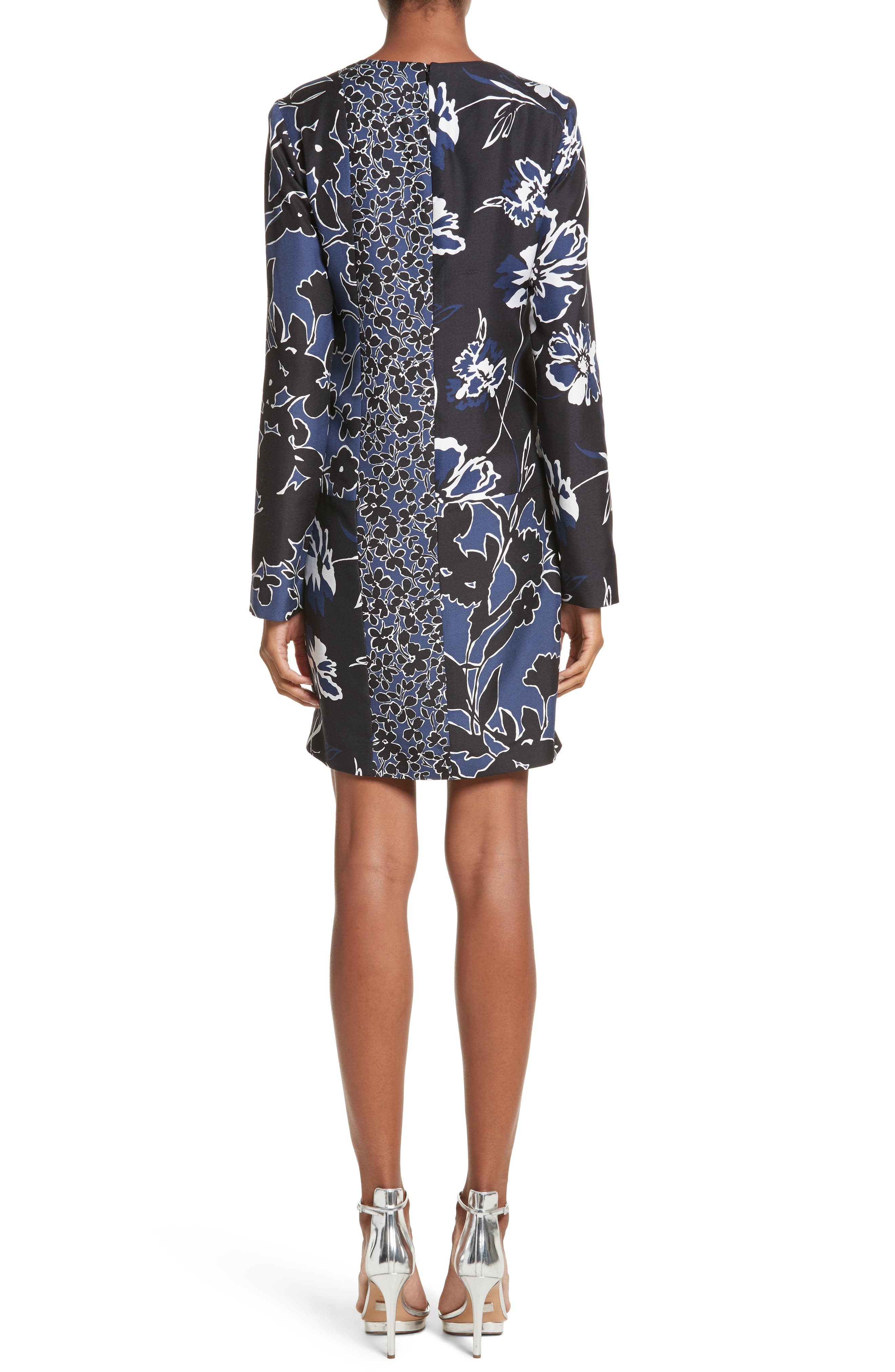Floral Dupioni Silk Shift Dress,                             Alternate thumbnail 2, color,