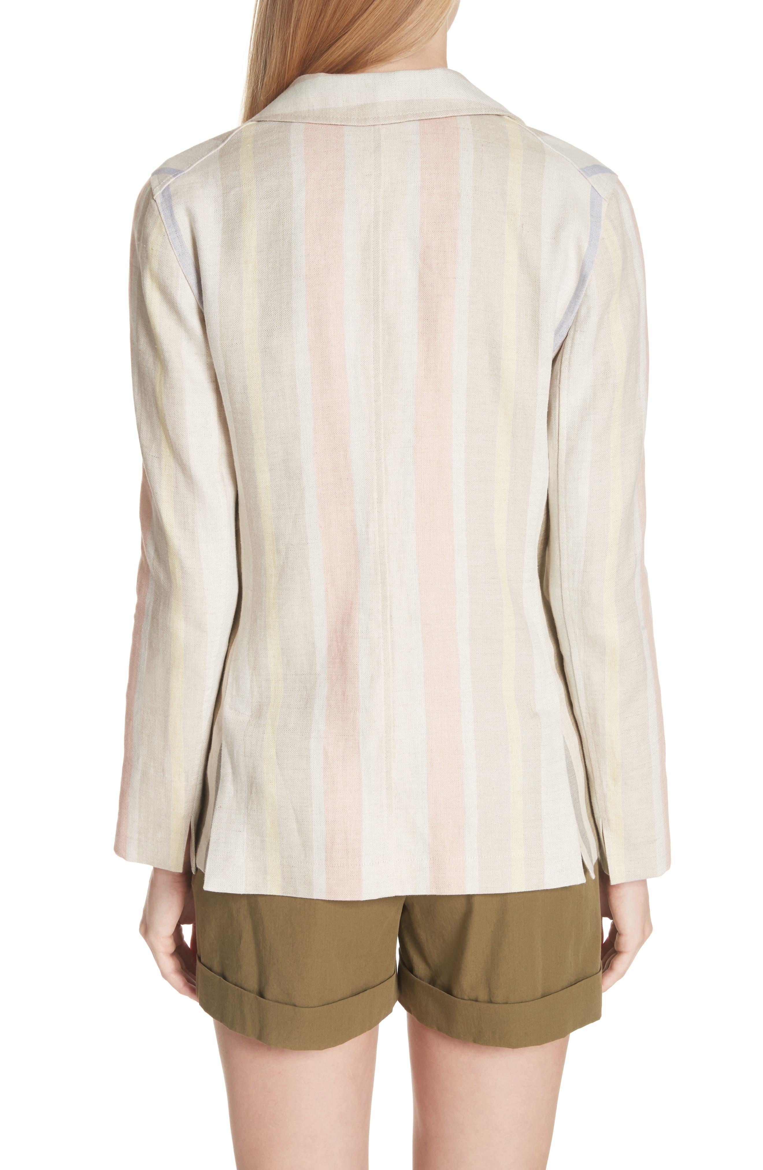 Marie Stripe Linen Jacket,                             Alternate thumbnail 2, color,