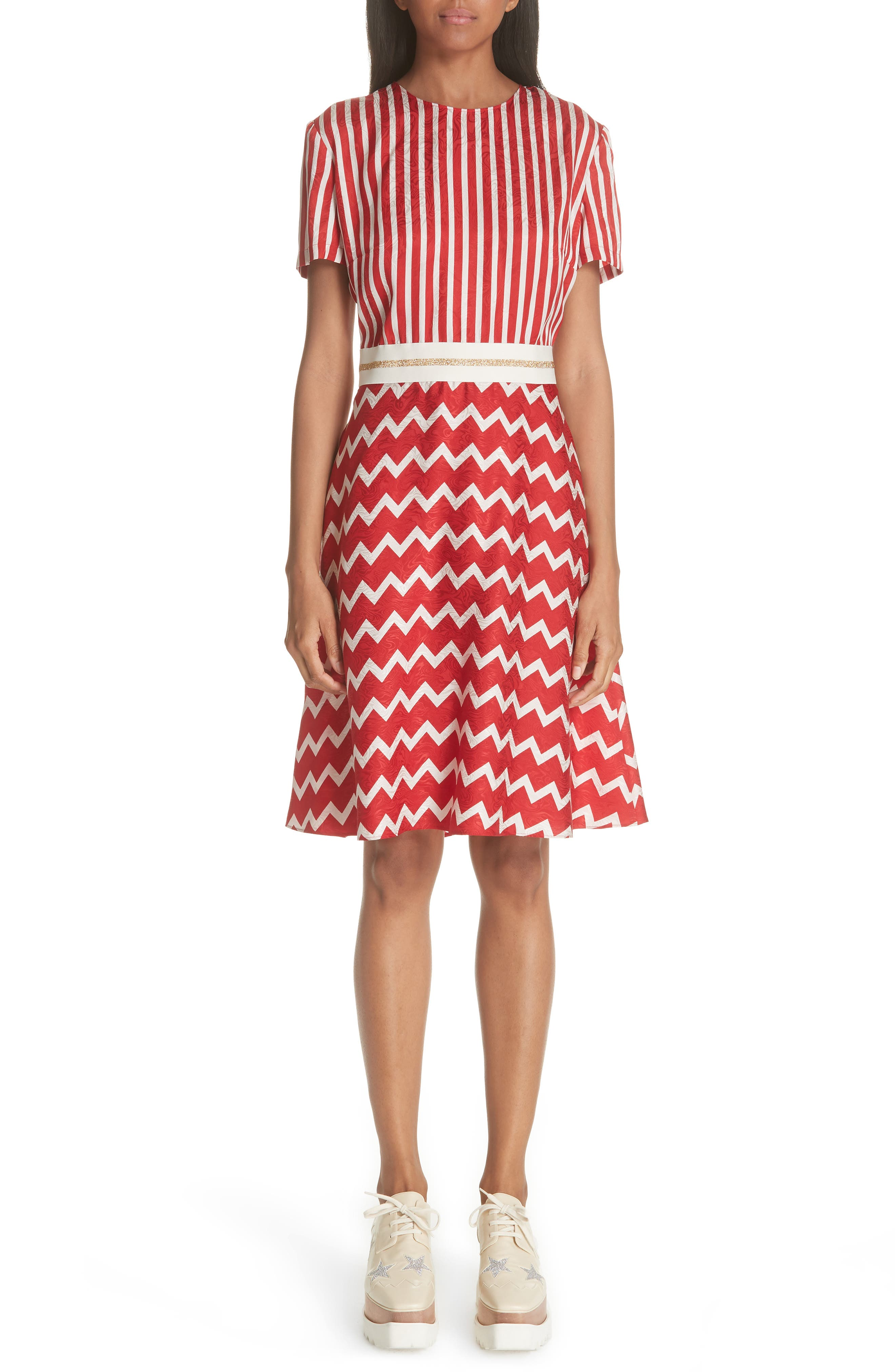 STELLA MCCARTNEY Zigzag Stripe Silk Dress, Main, color, 627