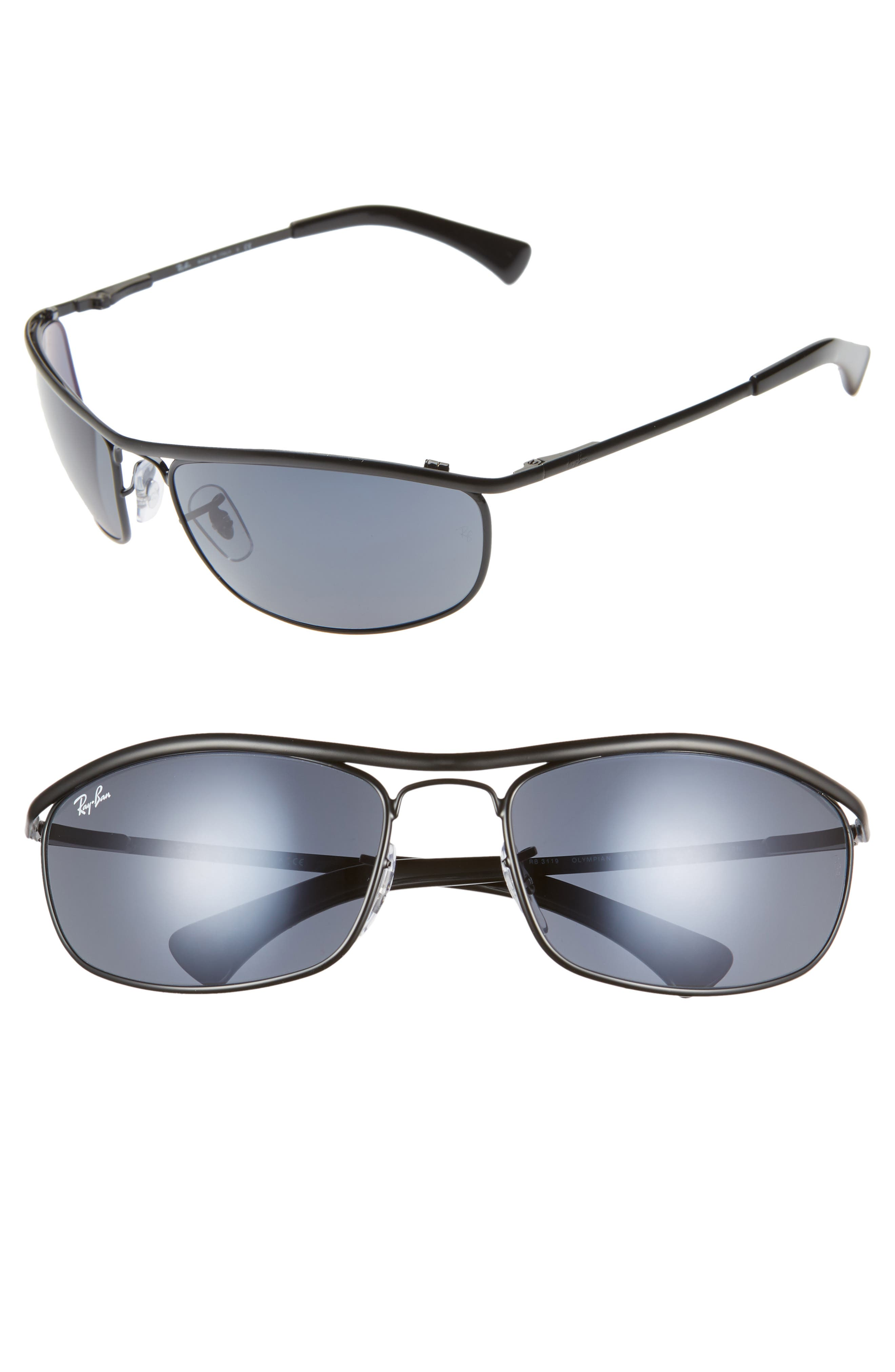 Ray-Ban 62Mm Aviator Shield Sunglasses - Black/ Blue Solid