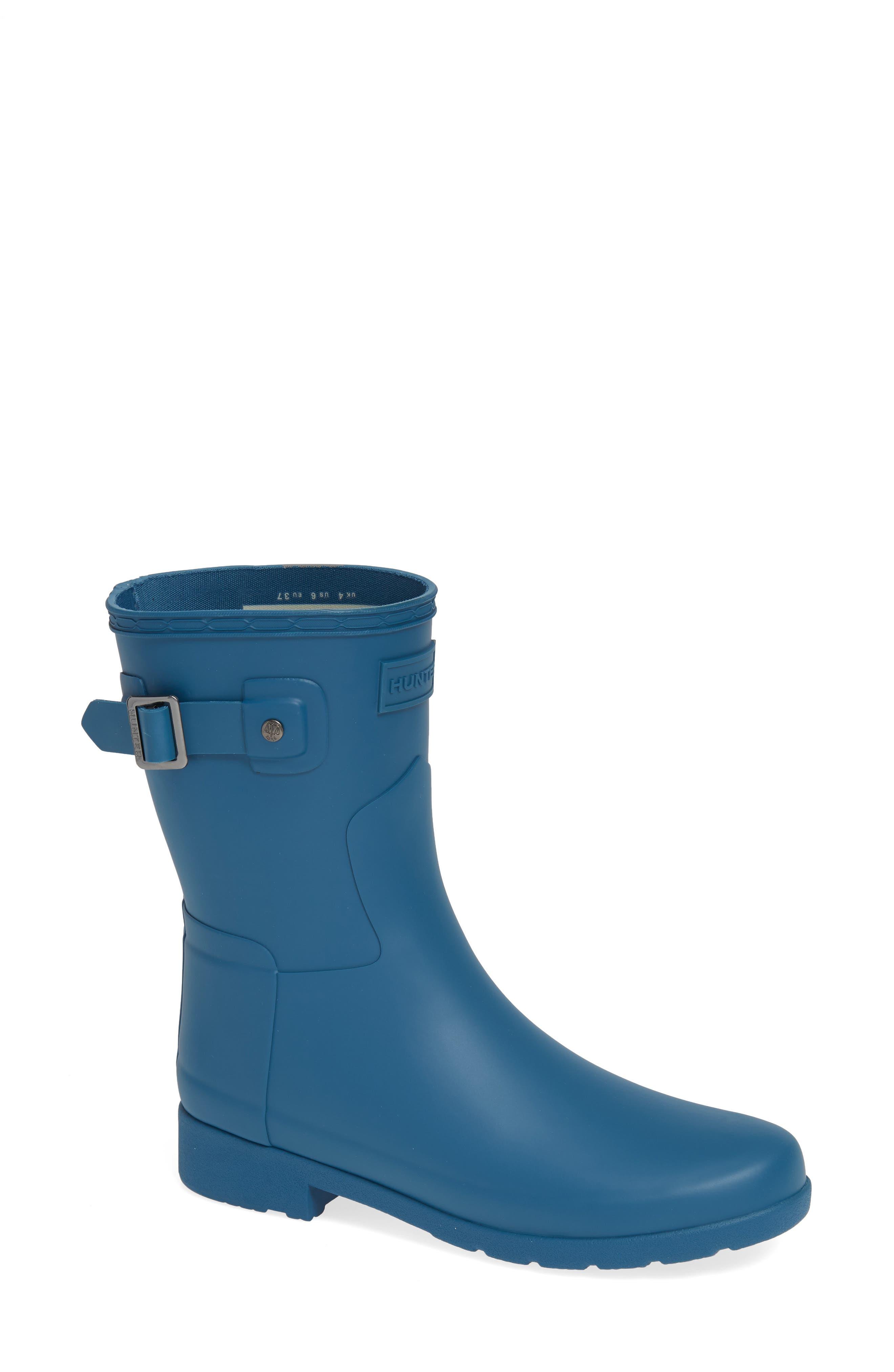 HUNTER,                             Original Refined Short Waterproof Rain Boot,                             Main thumbnail 1, color,                             440