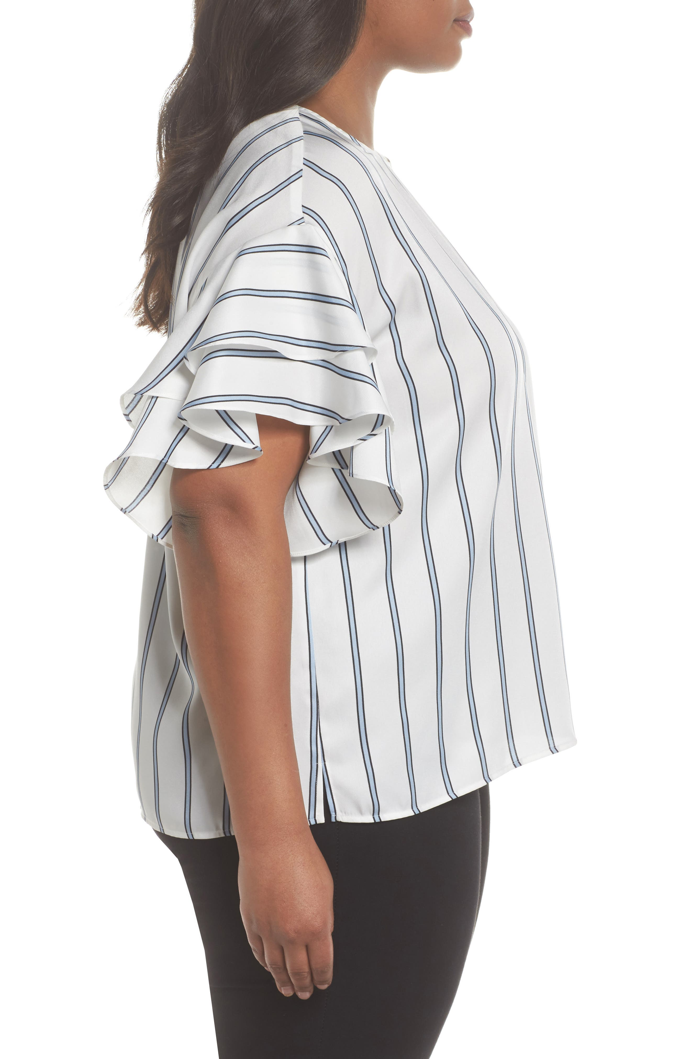 Tiered Ruffle Sleeve Stripe Top,                             Alternate thumbnail 6, color,