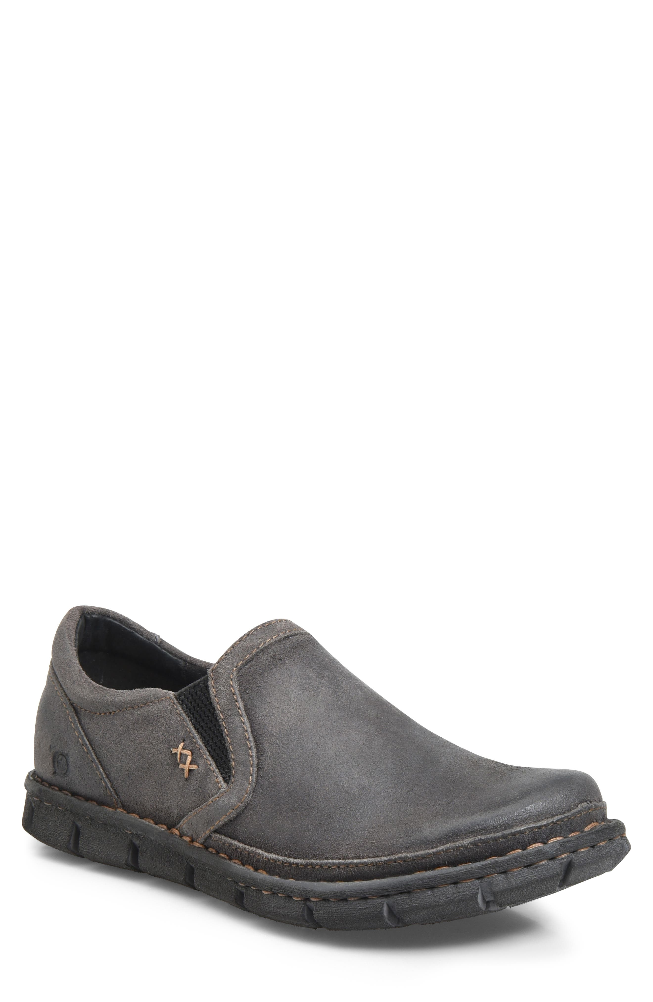 'Sawyer' Leather Slip-On,                         Main,                         color, DARK GREY LEATHER