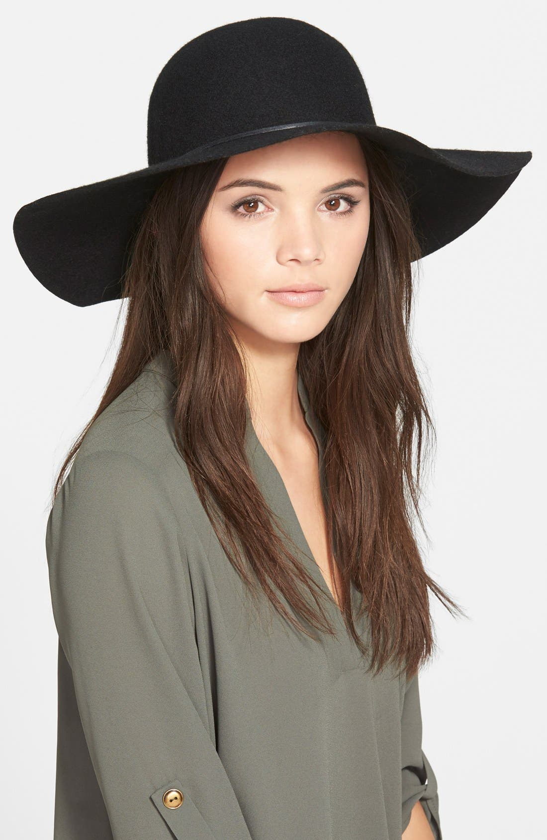 Rope Trim Floppy Felt Hat,                             Main thumbnail 1, color,                             001
