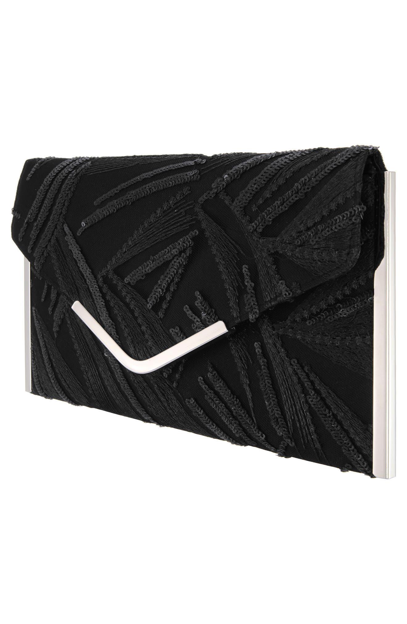 Embroidery Envelope Clutch Bag,                             Alternate thumbnail 4, color,                             BLACK