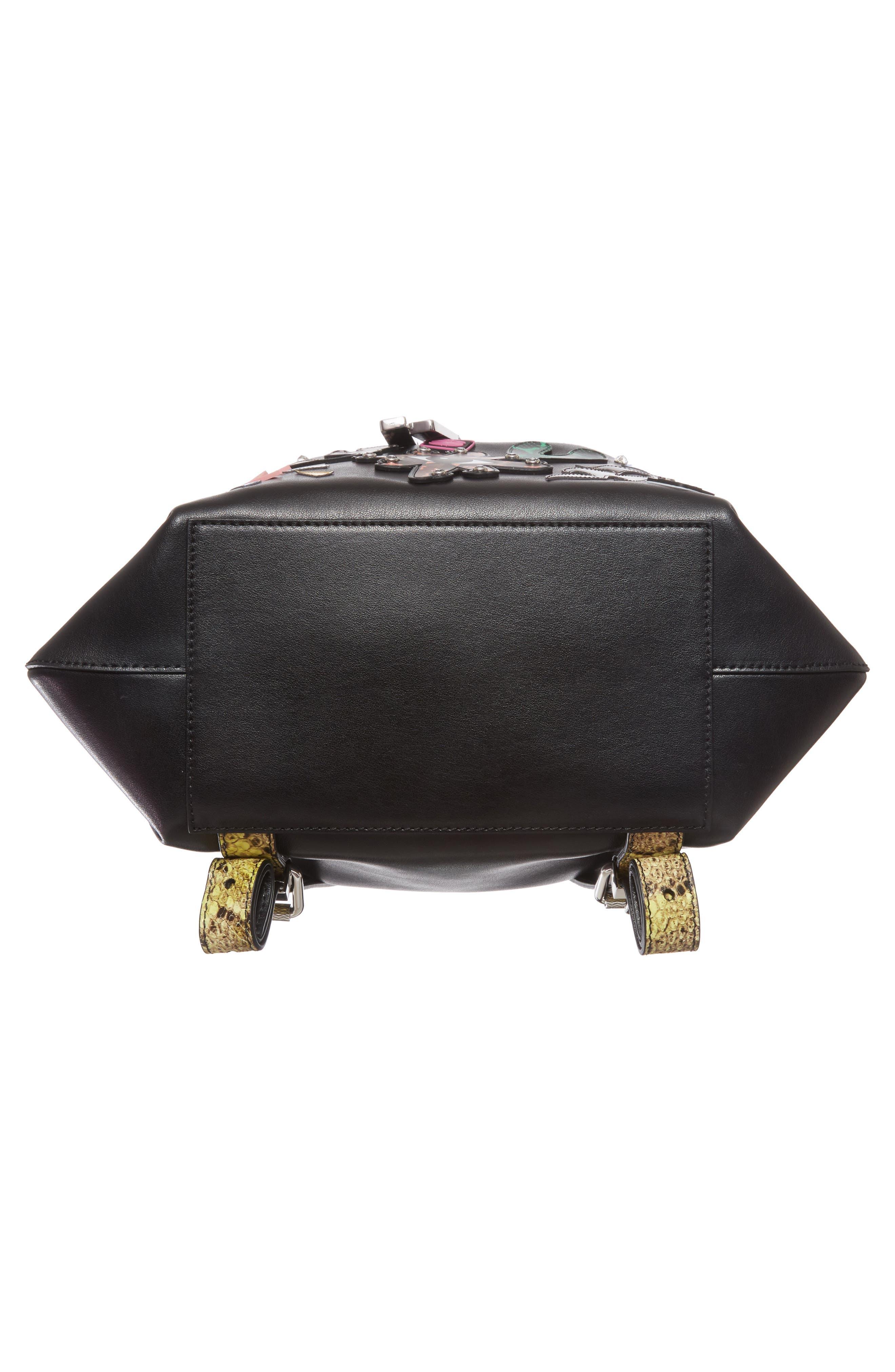 Rizo Badge Leather Backpack,                             Alternate thumbnail 7, color,                             001