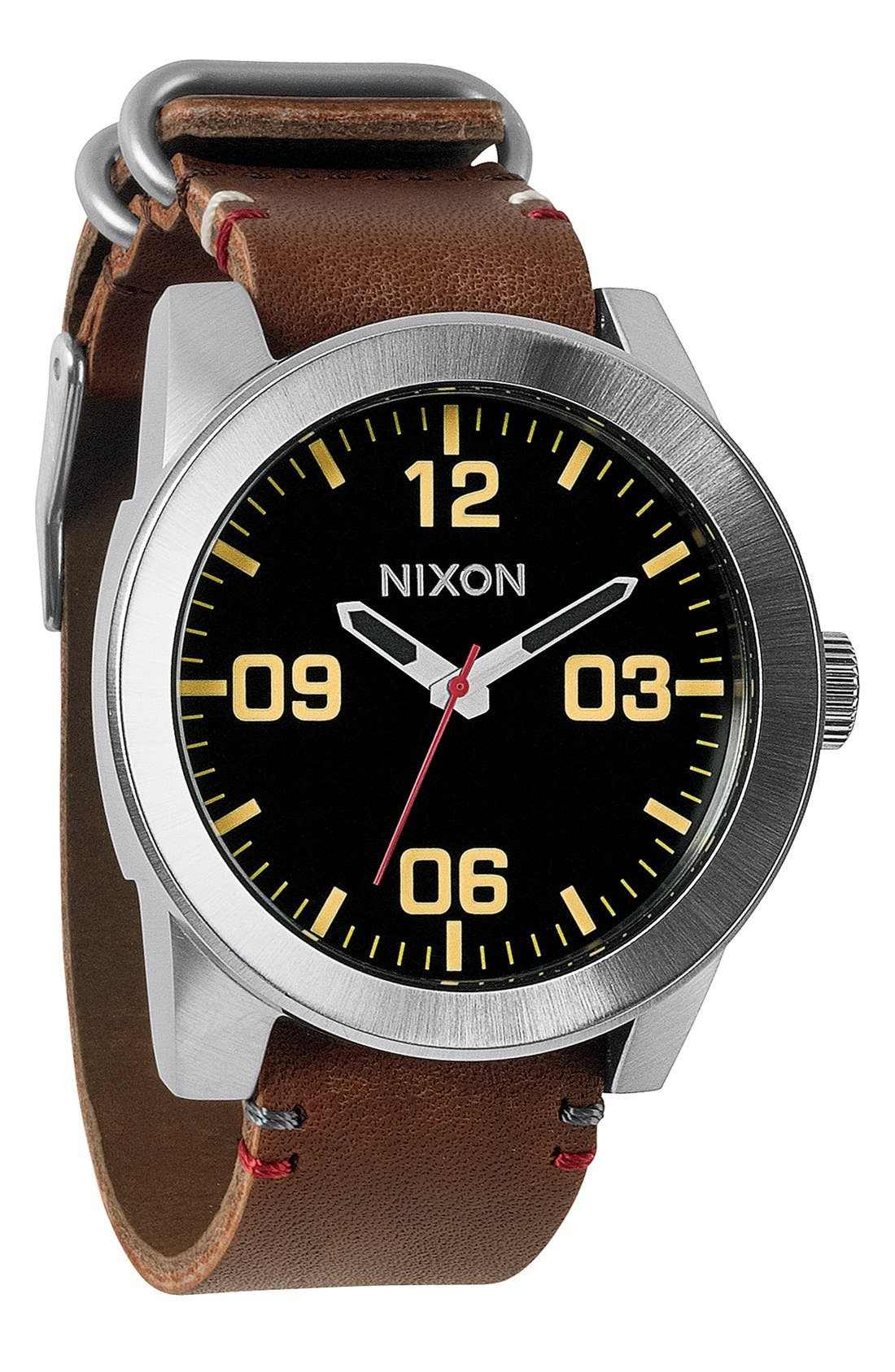 'The Corporal' Watch, 48mm,                             Main thumbnail 1, color,                             BROWN/ BLACK