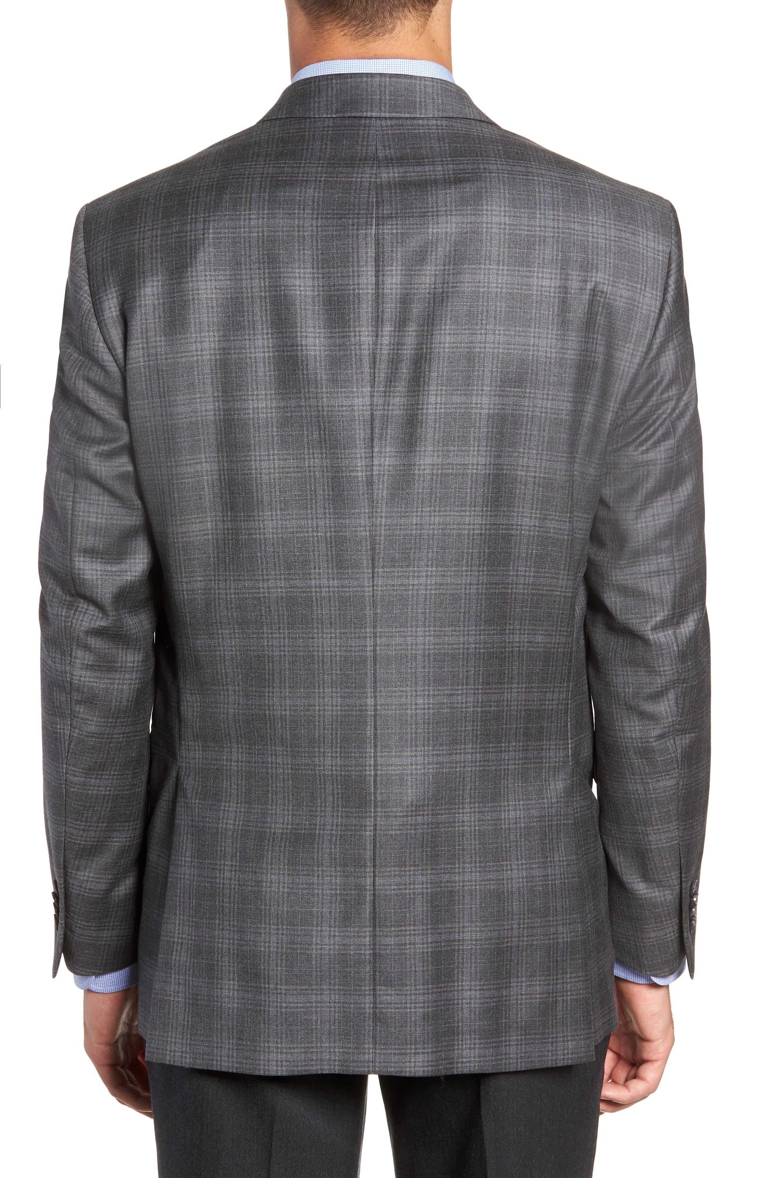 Flynn Classic Fit Plaid Wool Sport Coat,                             Alternate thumbnail 2, color,                             GREY