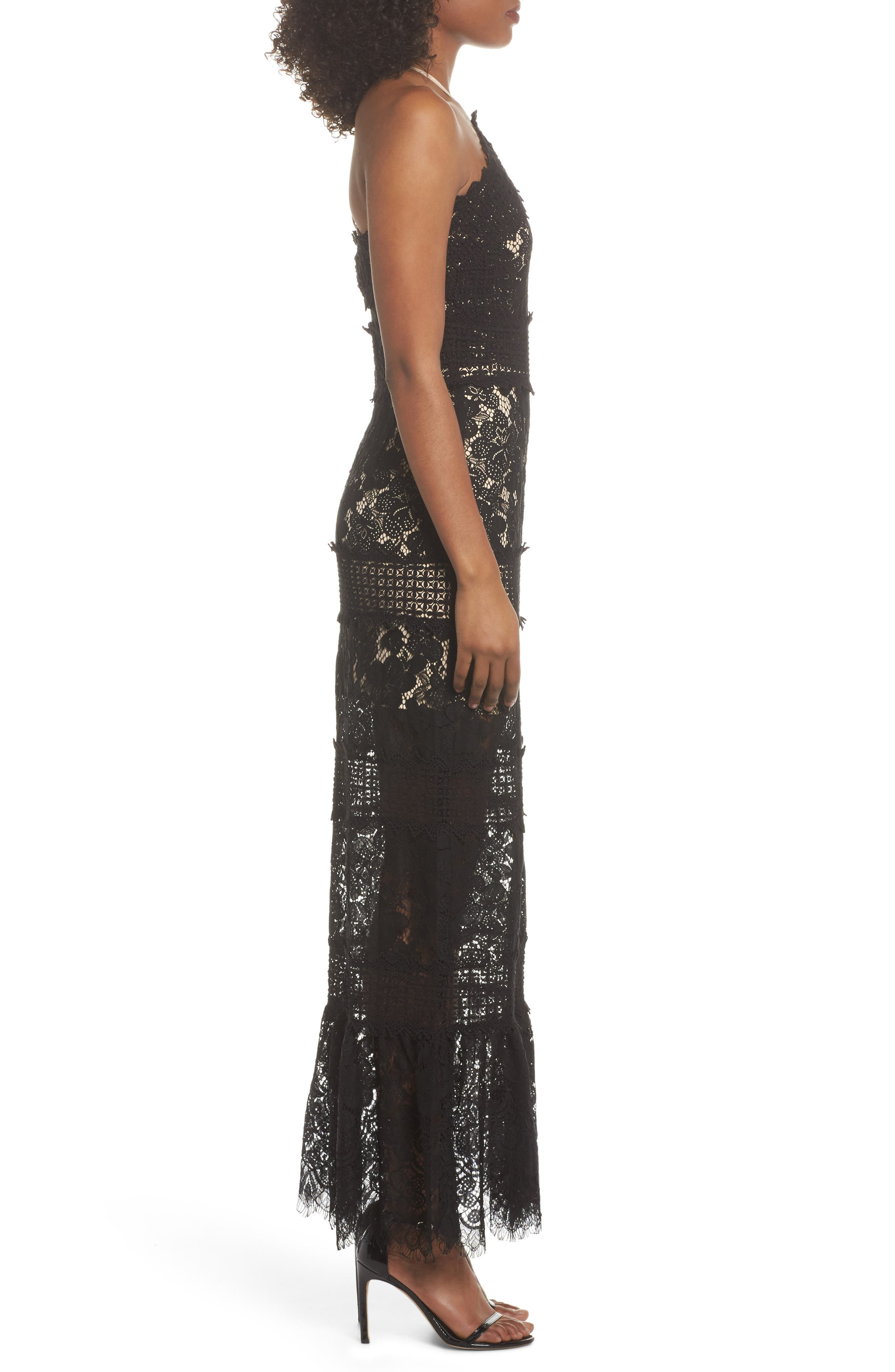 Tabitha Lace Maxi Dress,                             Alternate thumbnail 3, color,                             001