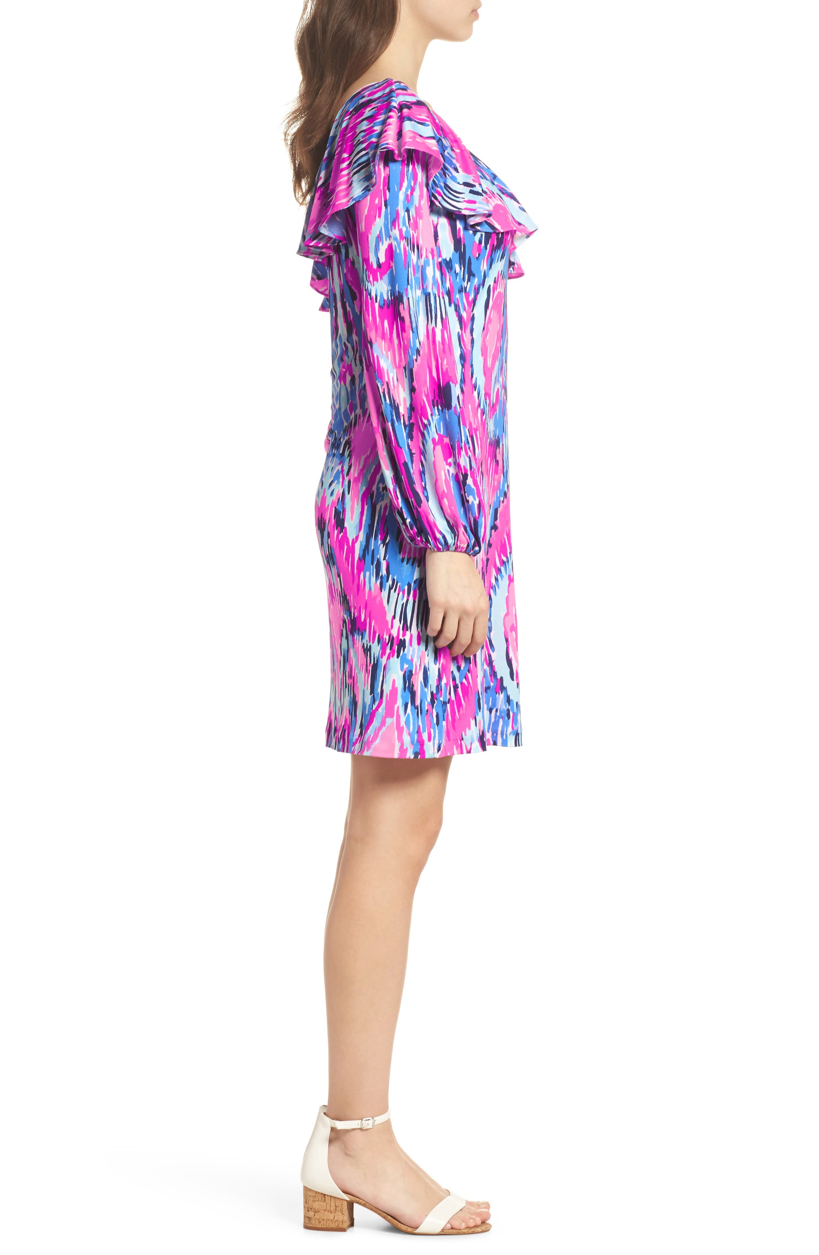 Amante One-Shoulder Silk Dress,                             Alternate thumbnail 3, color,                             650