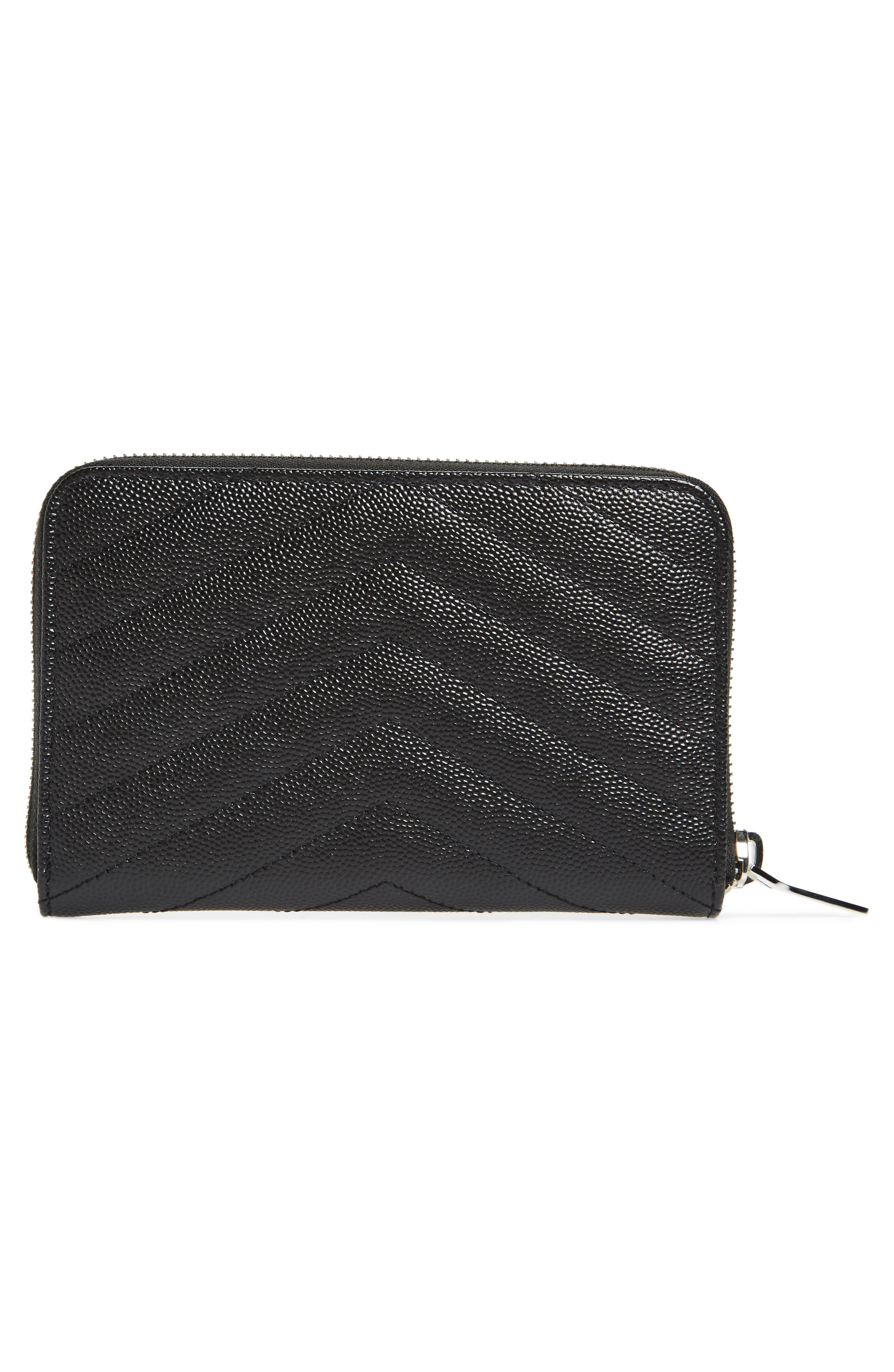 Small Grained Leather Zip Around Wallet,                             Alternate thumbnail 3, color,                             001