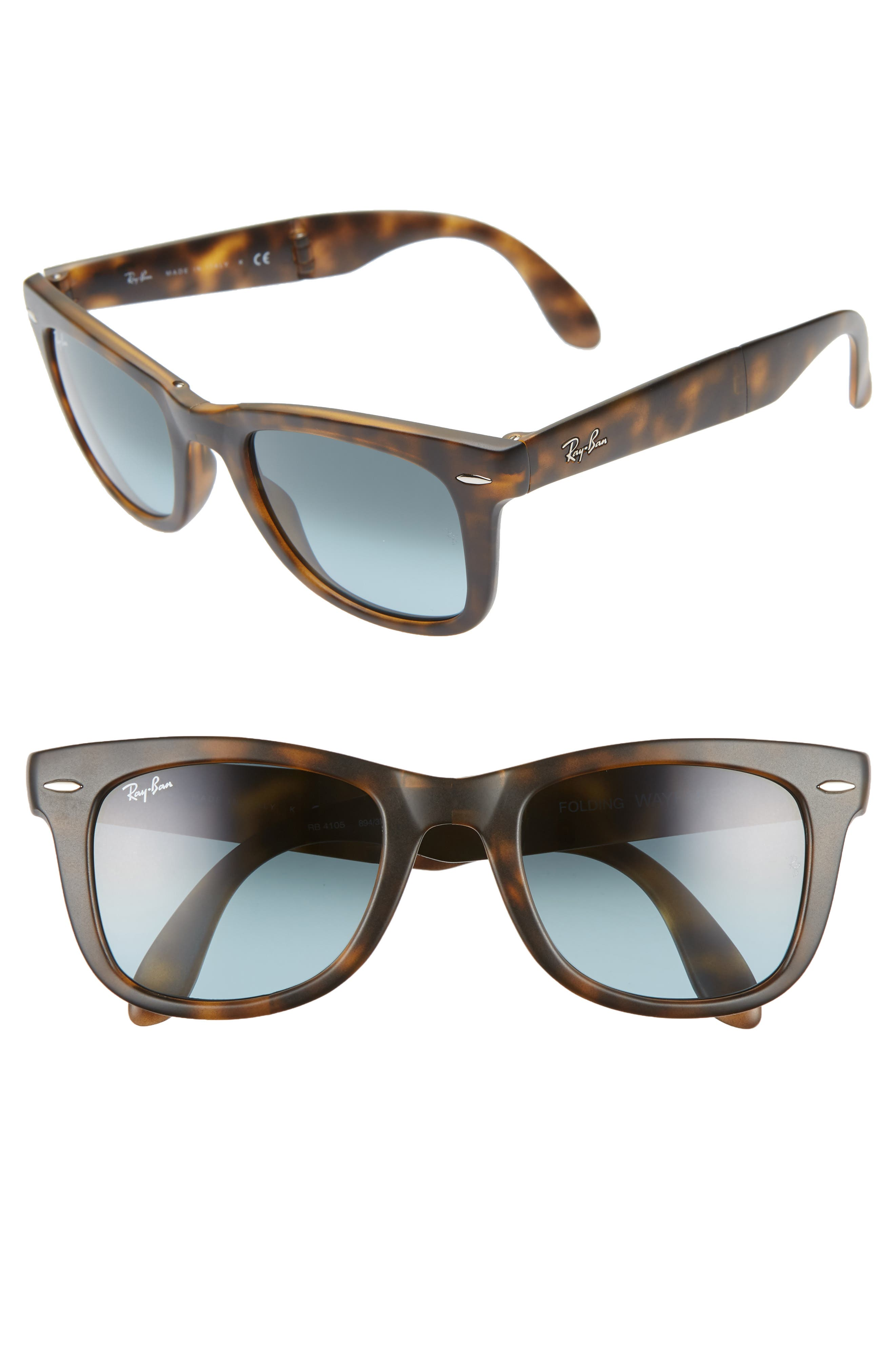 'Folding Wayfarer' 50mm Sunglasses,                             Main thumbnail 1, color,                             MATTE HAVANA