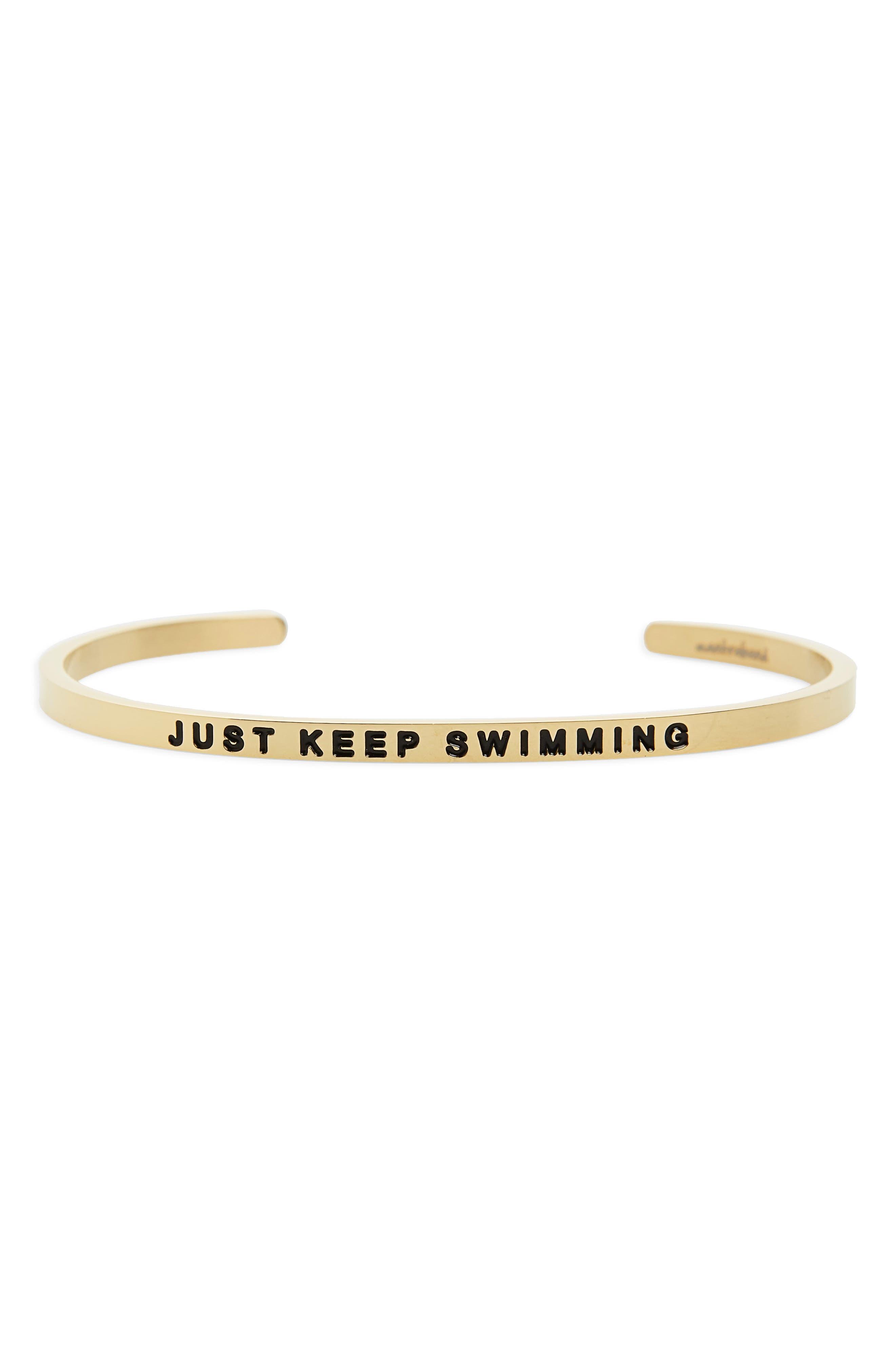 Just Keep Swimming Engraved Cuff,                             Main thumbnail 3, color,