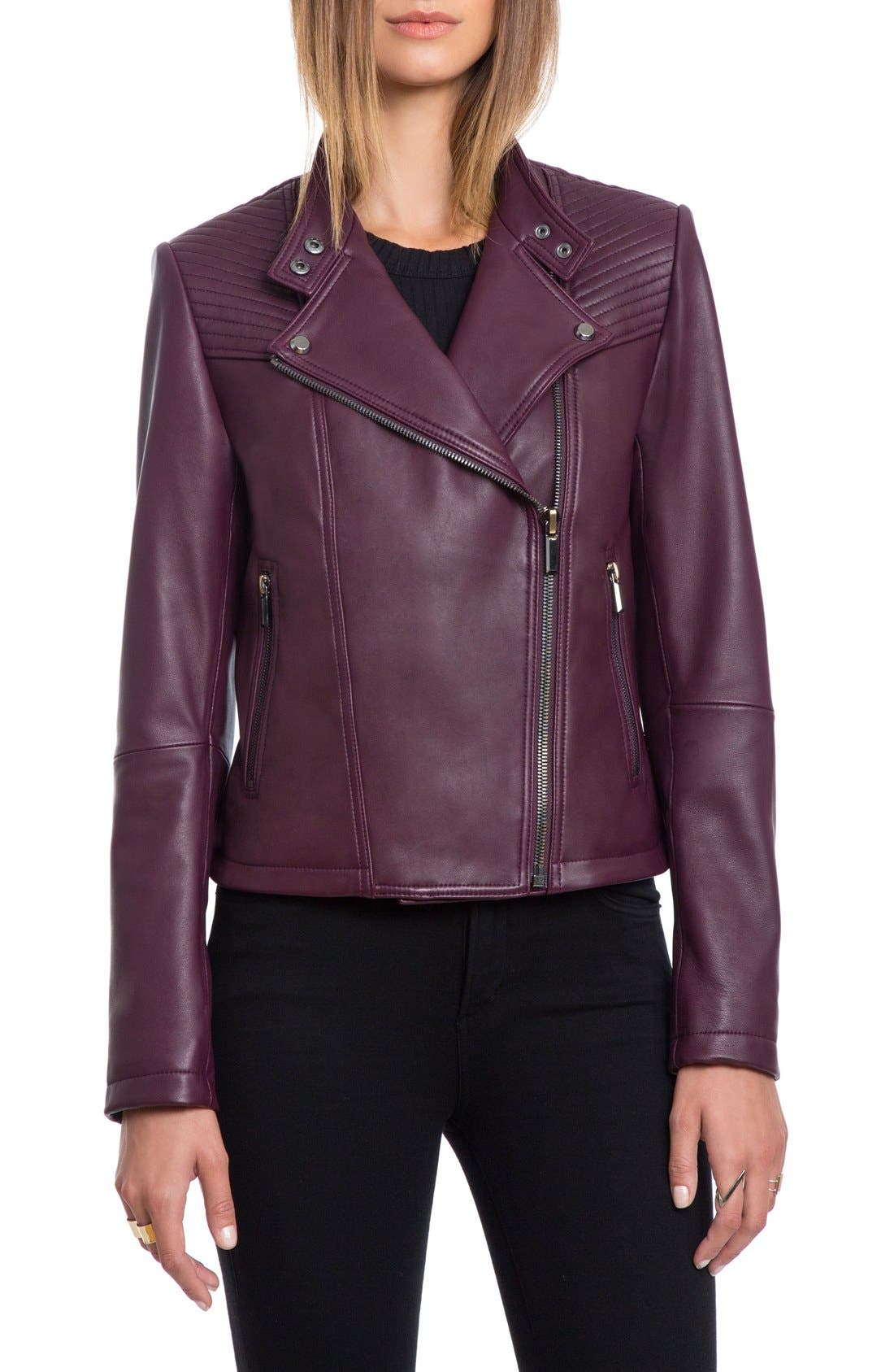 Bagatelle Quilted Lambskin Leather Moto Jacket,                             Main thumbnail 4, color,