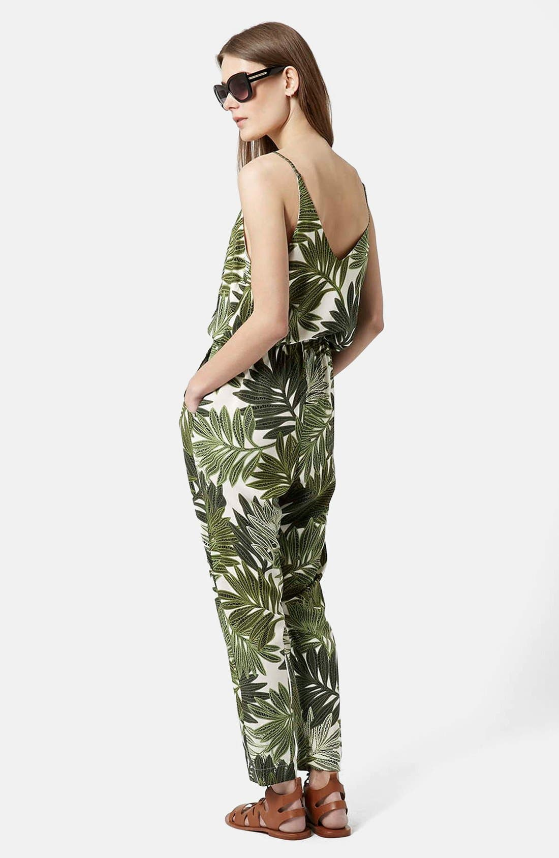 Palm Leaf Print Jumpsuit,                             Alternate thumbnail 4, color,                             300