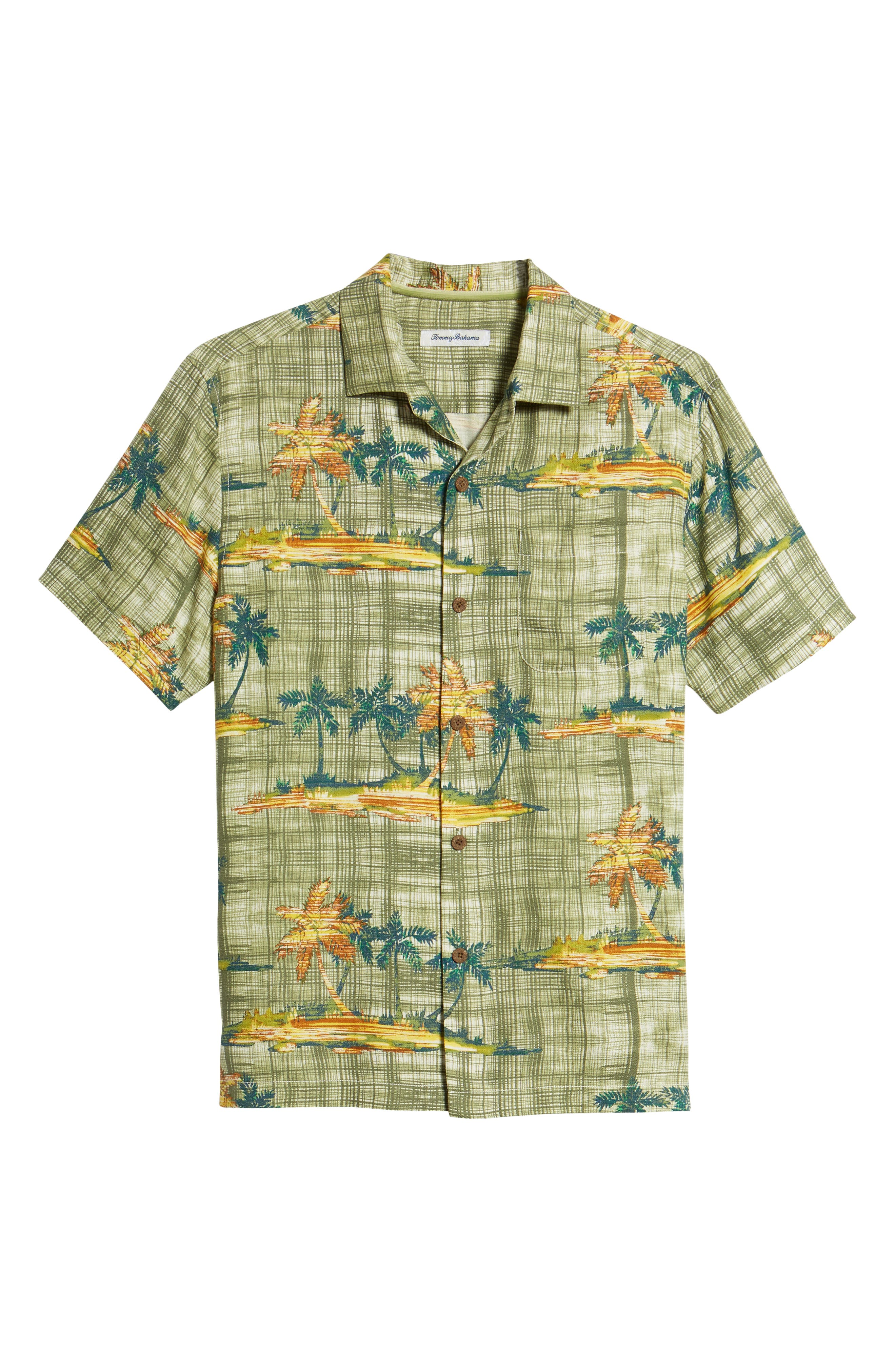 Zama Palms Silk Blend Camp Shirt,                             Alternate thumbnail 6, color,