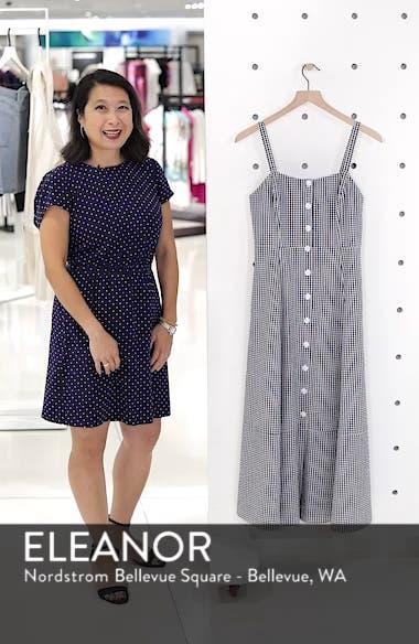 Gingham Button Front Cotton Blend Dress, sales video thumbnail