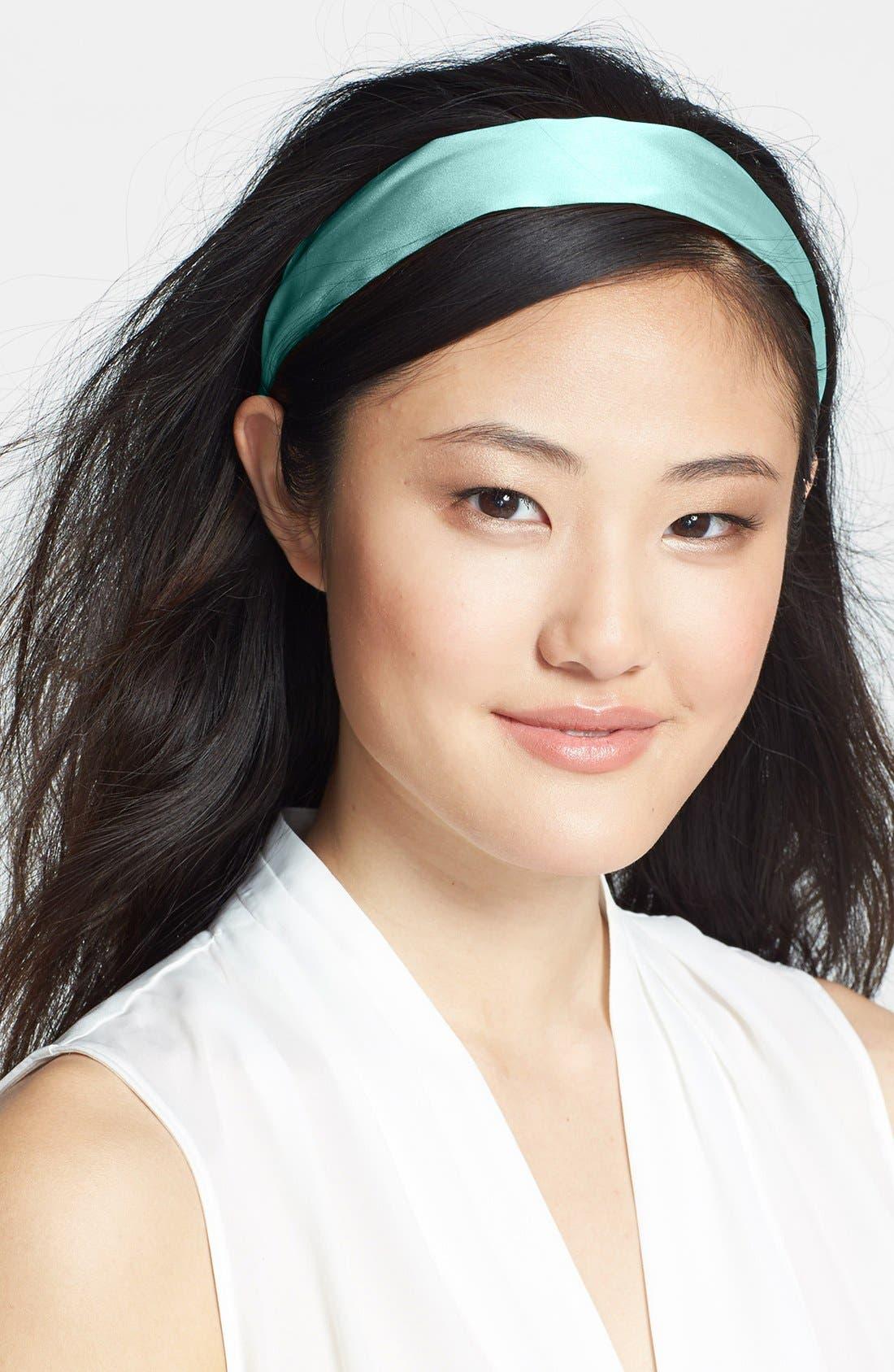 Silk Scarf Headband,                         Main,                         color, SILK CHARMEUSE BREEZE