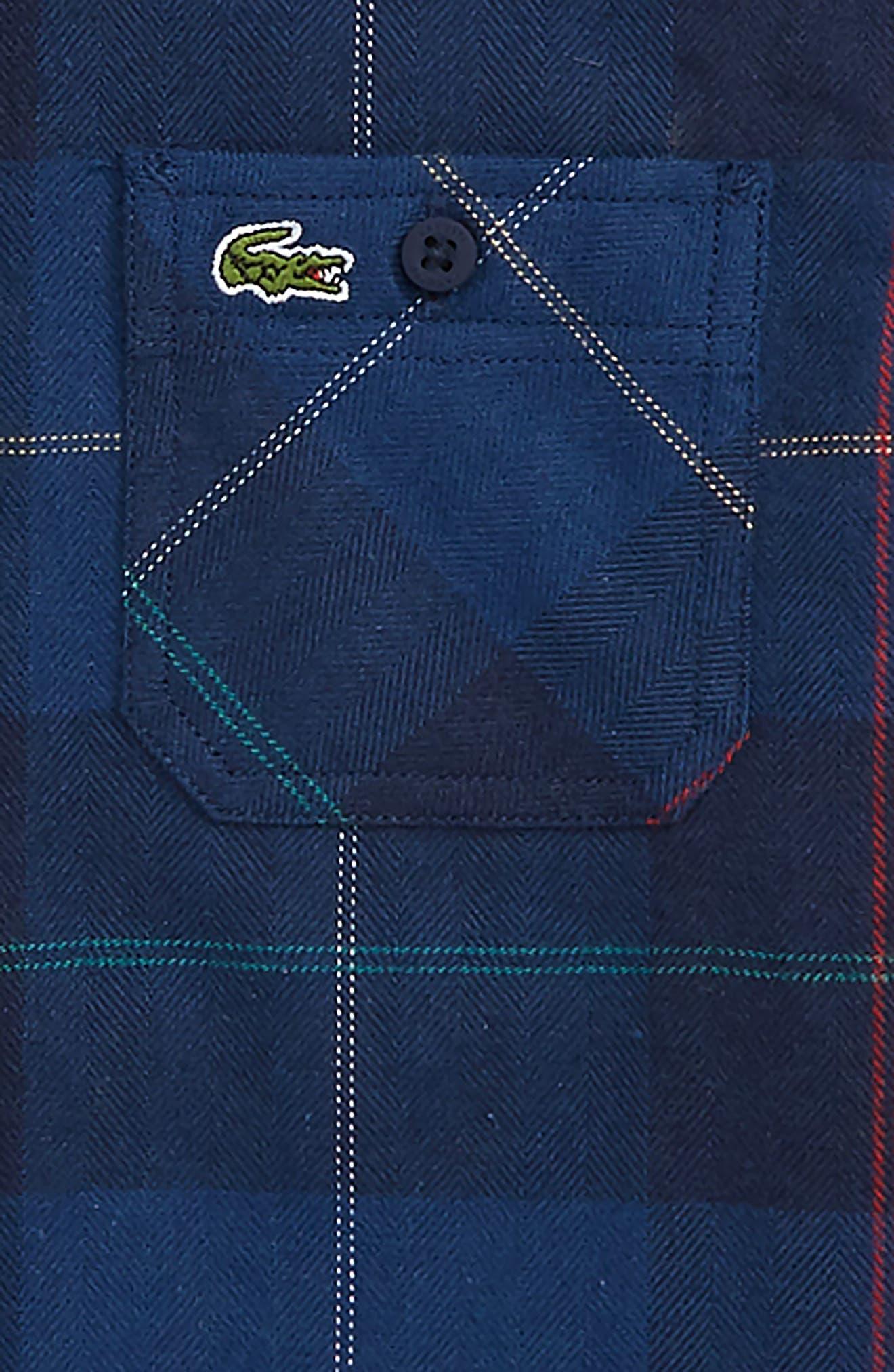 LACOSTE,                             Plaid Flannel Woven Shirt,                             Alternate thumbnail 2, color,                             C50 PRINT