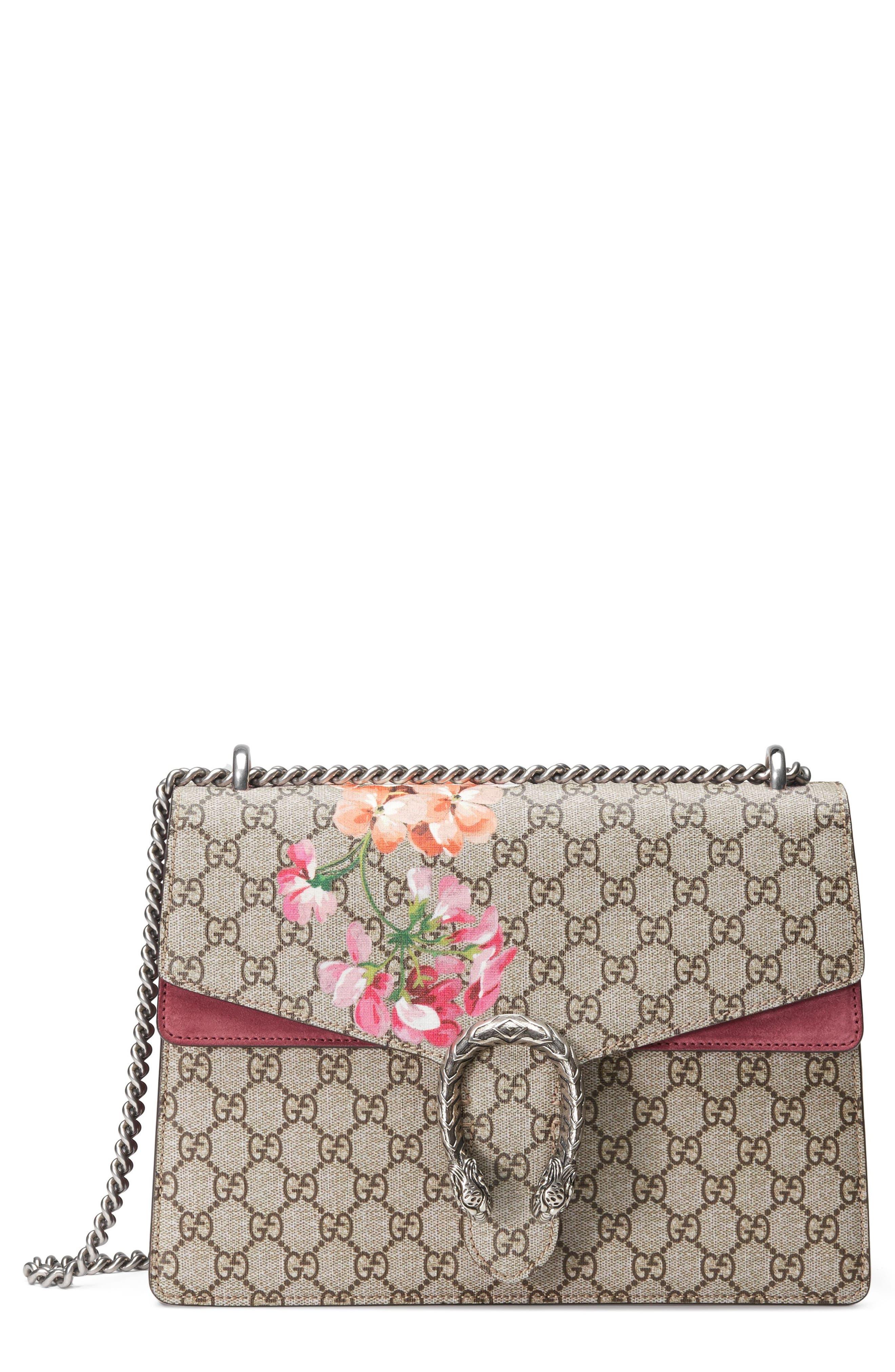 Large Floral GG Supreme Canvas & Suede Shoulder Bag,                             Main thumbnail 1, color,
