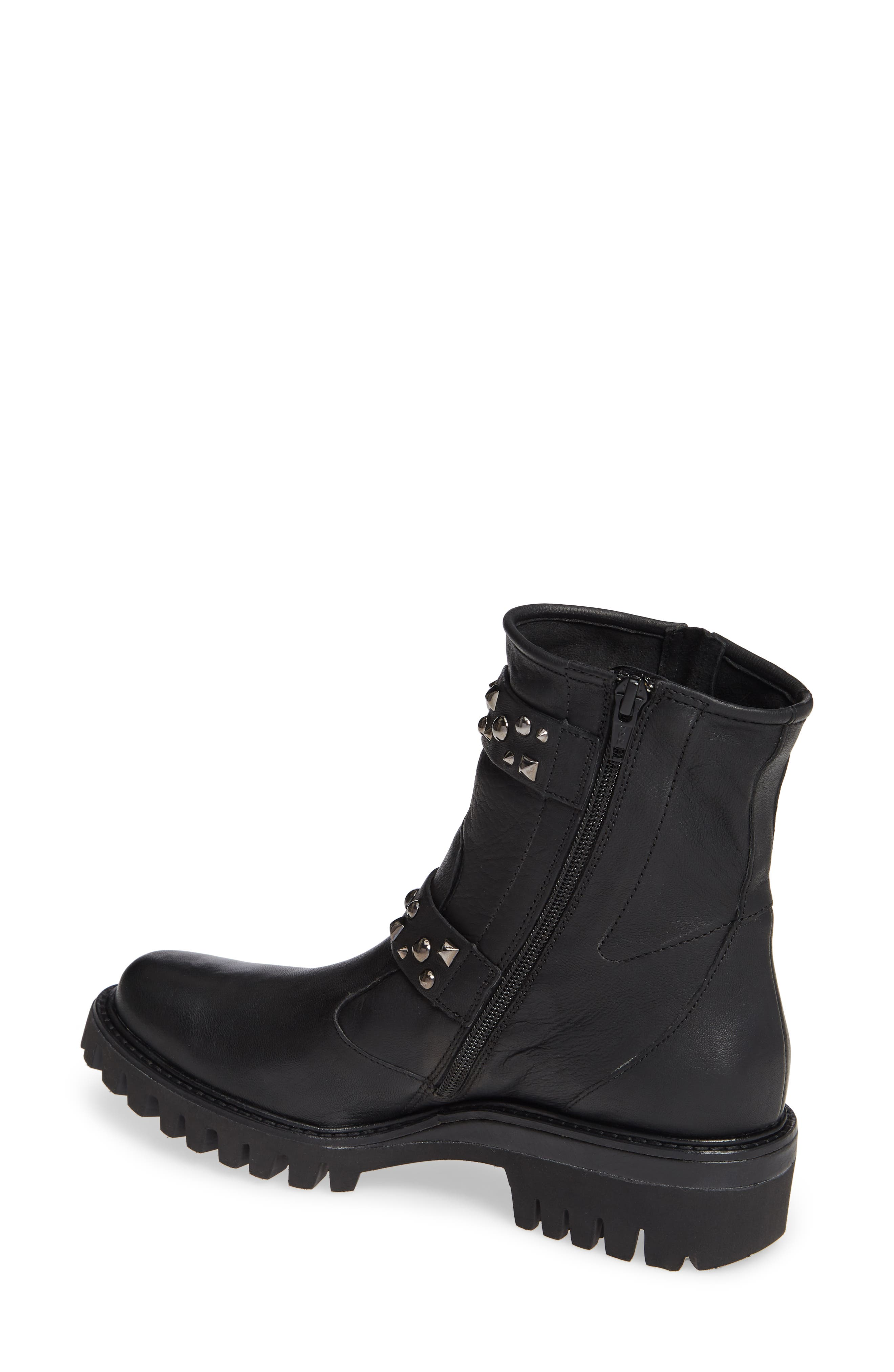 Veronia Studded Buckle Boot,                             Alternate thumbnail 2, color,                             BLACK LEATHER