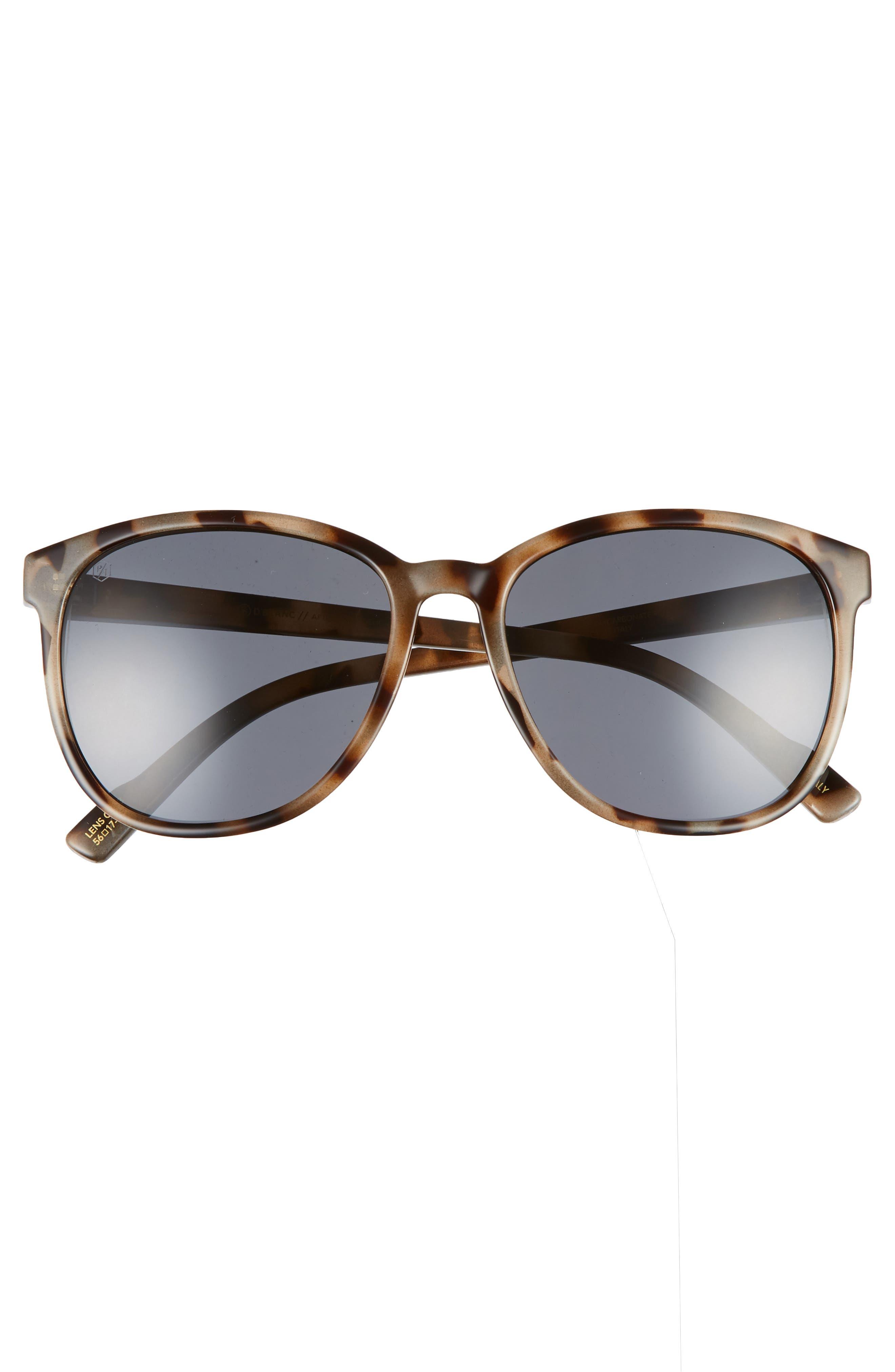 D'BLANC Afternoon Delight 56mm Polarized Sunglasses,                             Alternate thumbnail 3, color,                             SNOW LEOPARD/ GREY POLAR