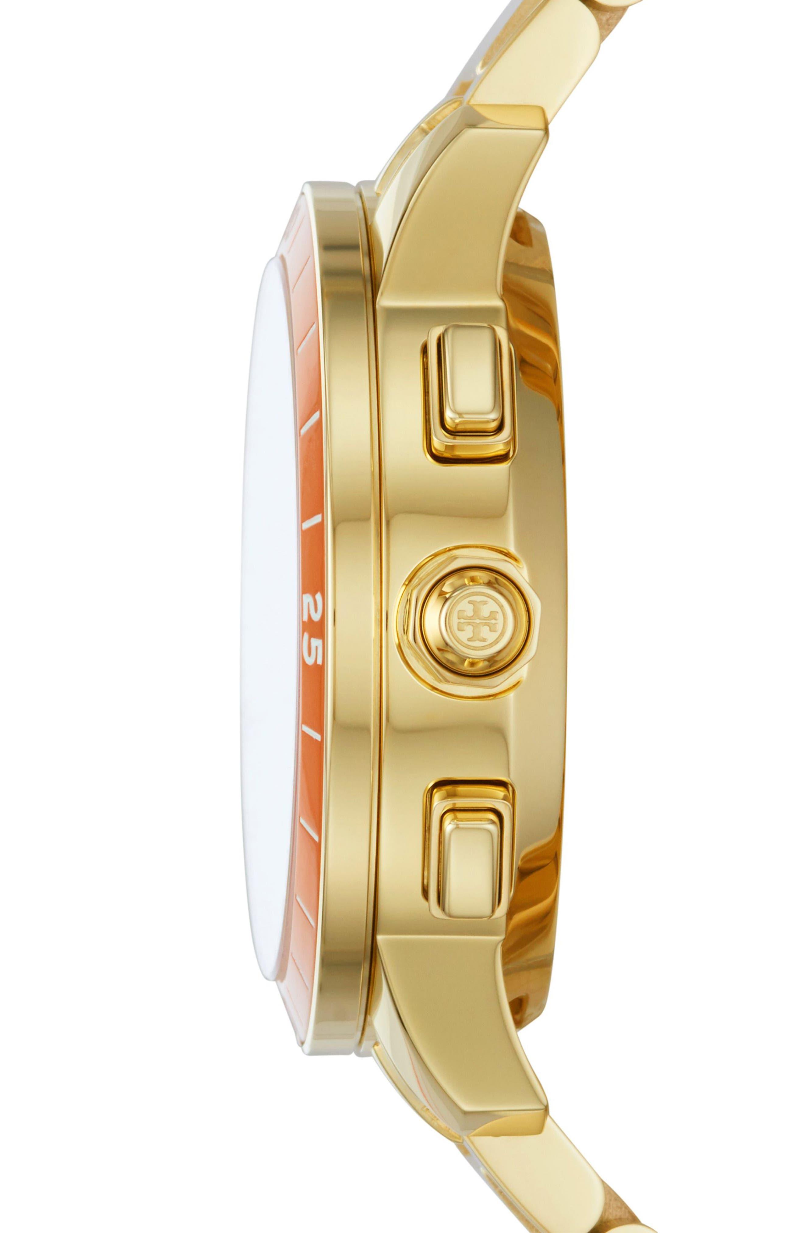 Collins Hybrid Bracelet Watch, 38mm,                             Alternate thumbnail 2, color,                             GOLD/ CREAM/ ORANGE