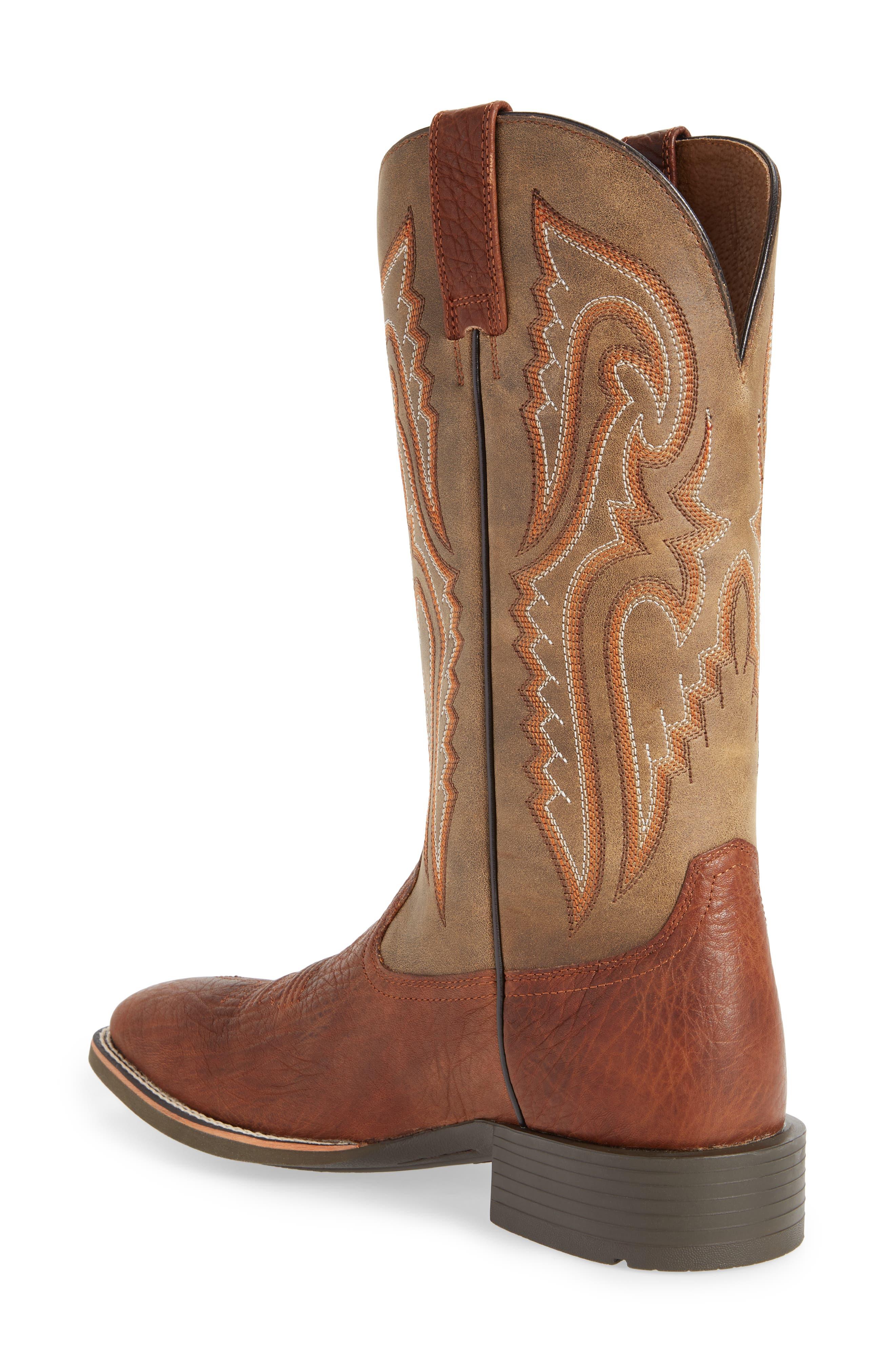Heritage Latigo Square Toe Cowboy Boot,                             Alternate thumbnail 2, color,                             COGNAC/ BROWN BOMBER LEATHER
