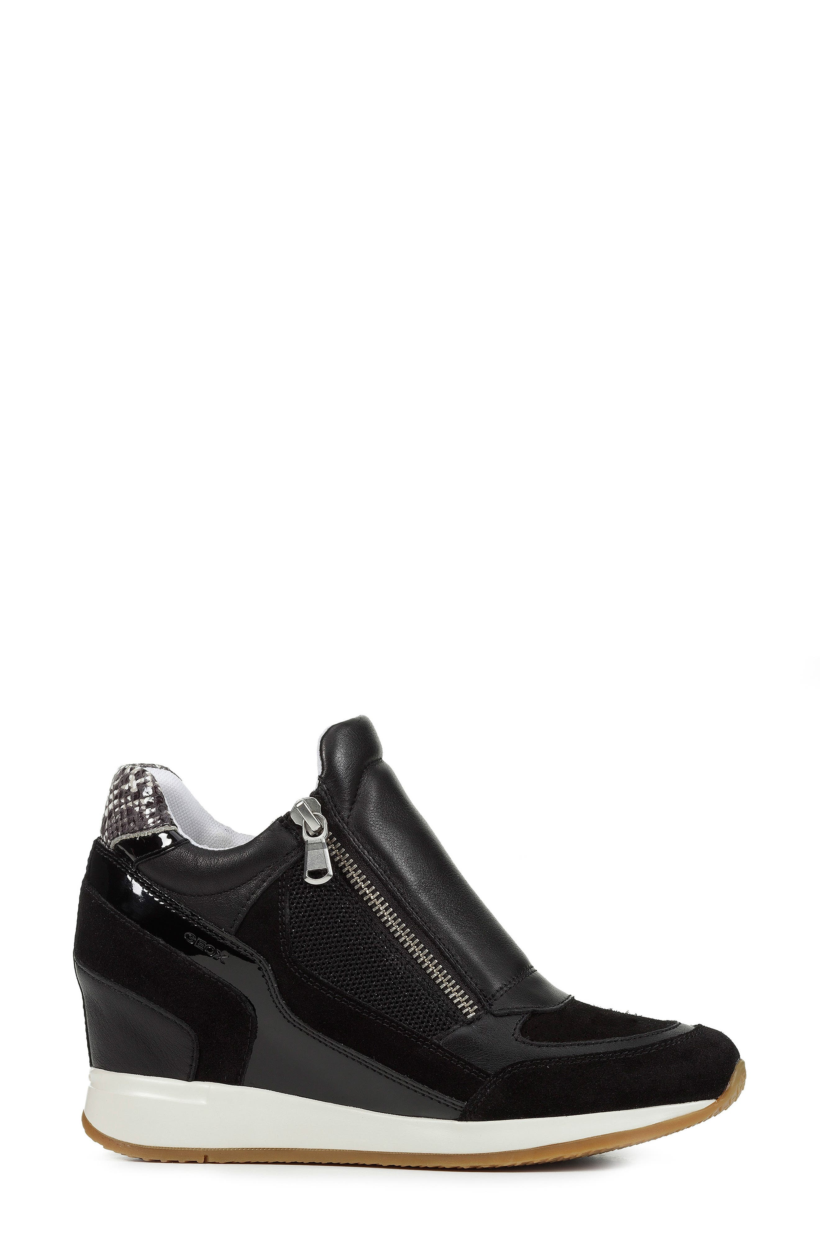 Nydame Wedge Sneaker,                             Alternate thumbnail 3, color,                             BLACK/ BLACK LEATHER