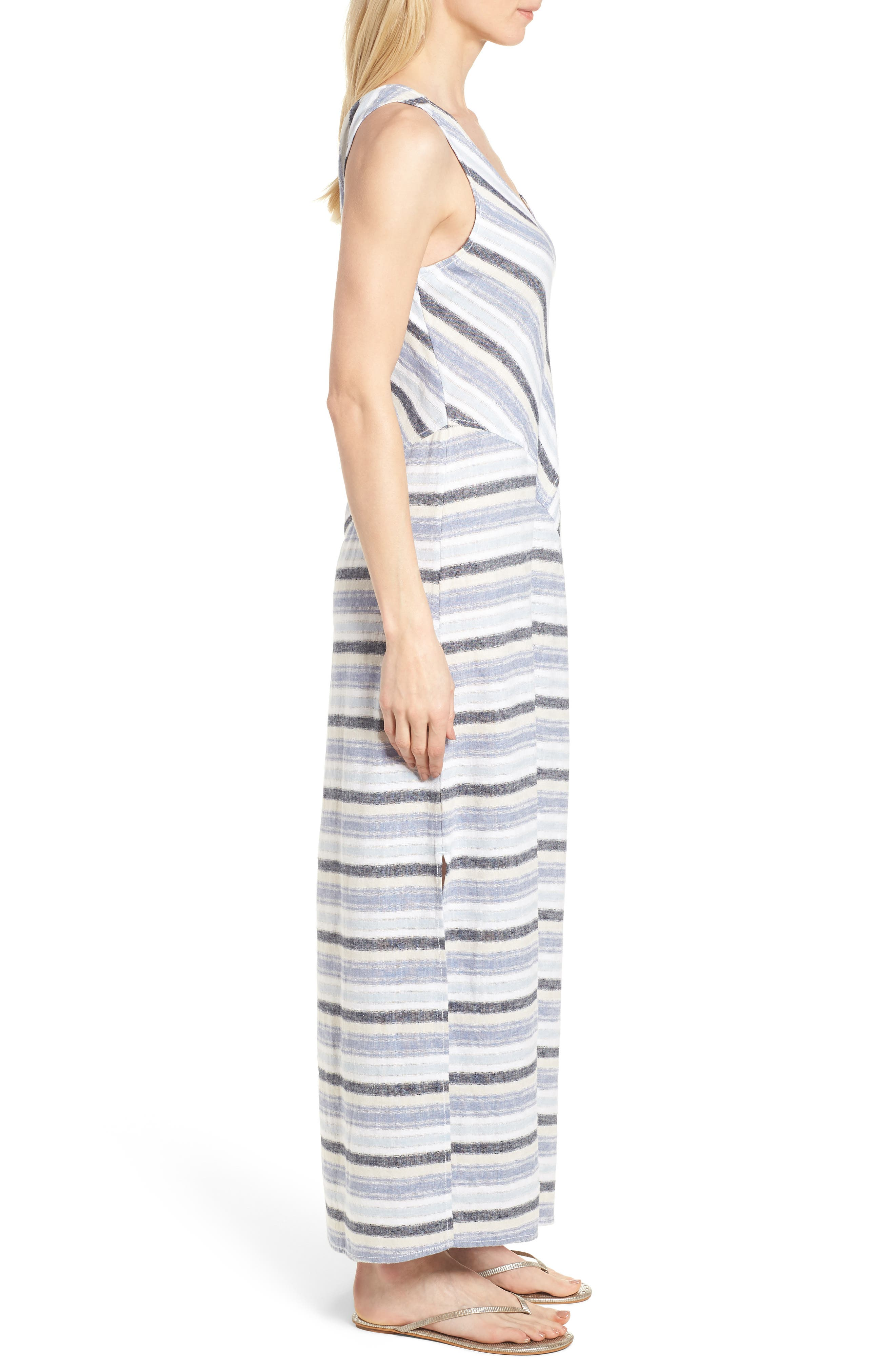 Stripe A-Line Maxi Dress,                             Alternate thumbnail 3, color,                             420